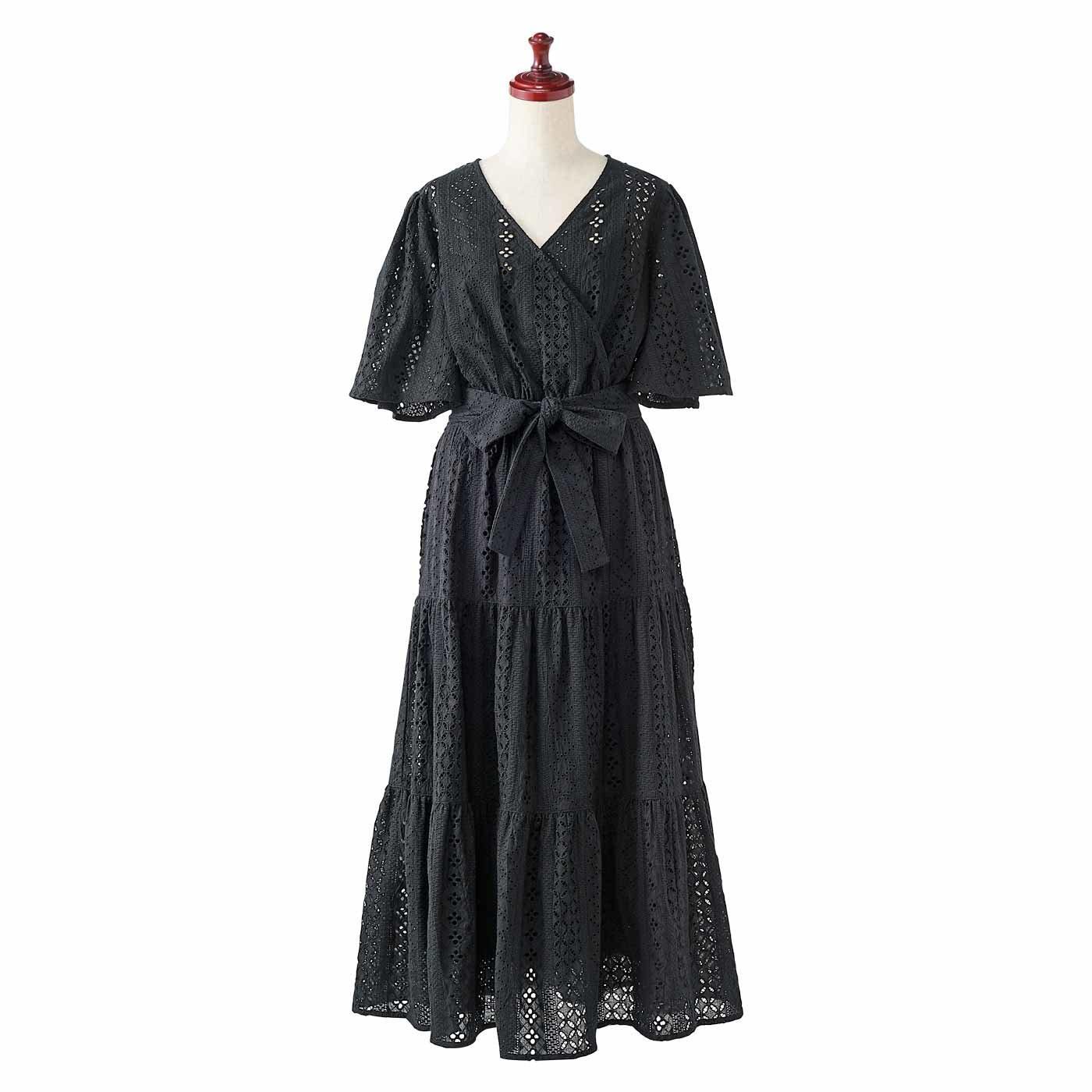 IEDIT[イディット] キャミドレス付き 総刺しゅうボーラーレースワンピース〈ブラック〉