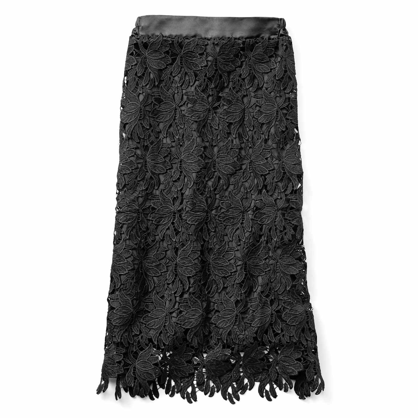 IEDIT[イディット] 繊細レースが女らしく華やぐ吸汗速乾スカート〈ブラック〉