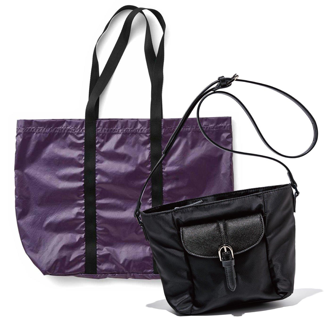 牧野紗弥さん×IEDIT[イディット] 大容量の軽やかサブバッグ付きで荷物が増えても安心 きれいめポシェット〈ブラック〉