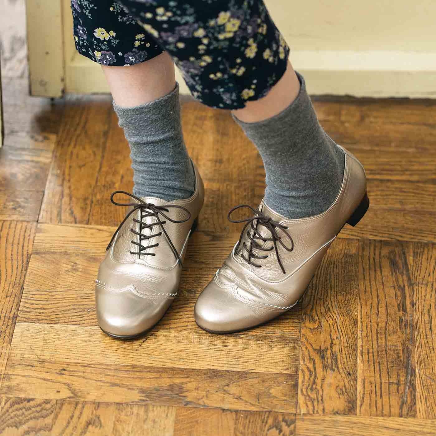 長田靴職人の本革仕立て シンプルレースアップ レザーシューズ 〈シャンパンゴールド〉[本革 靴:日本製]