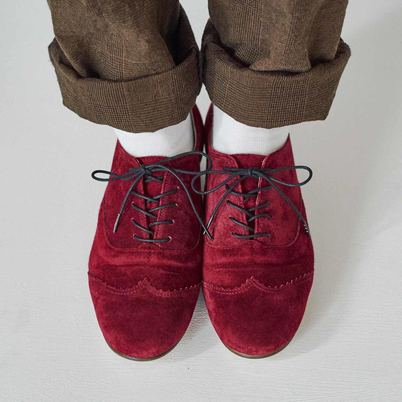 長田靴職人の本革仕立て シンプルレースアップ スエードシューズ〈ワインレッド〉[本革 靴:日本製]
