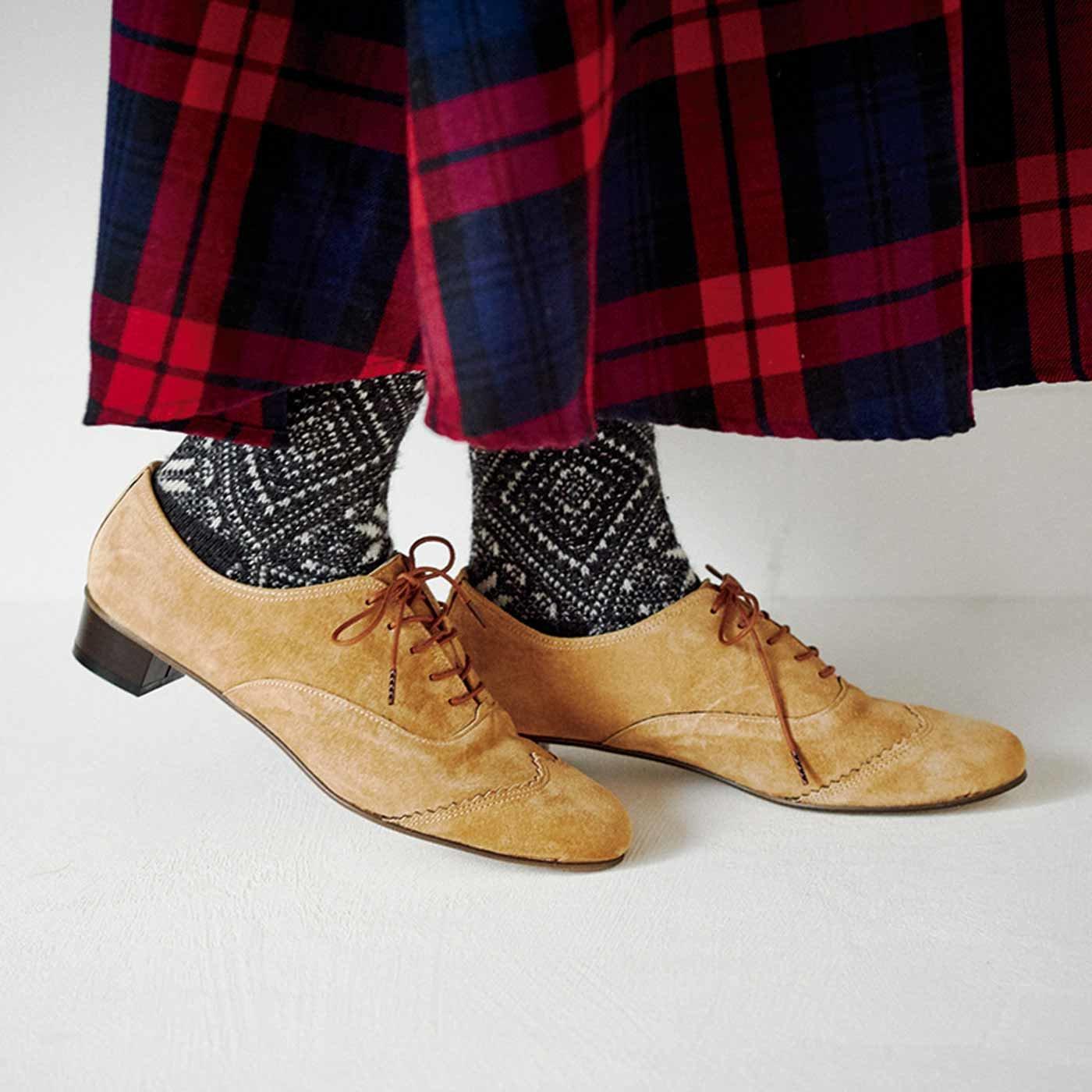 長田靴職人の本革仕立て シンプルレースアップ スエードシューズ〈ライトキャメル〉[本革 靴:日本製]