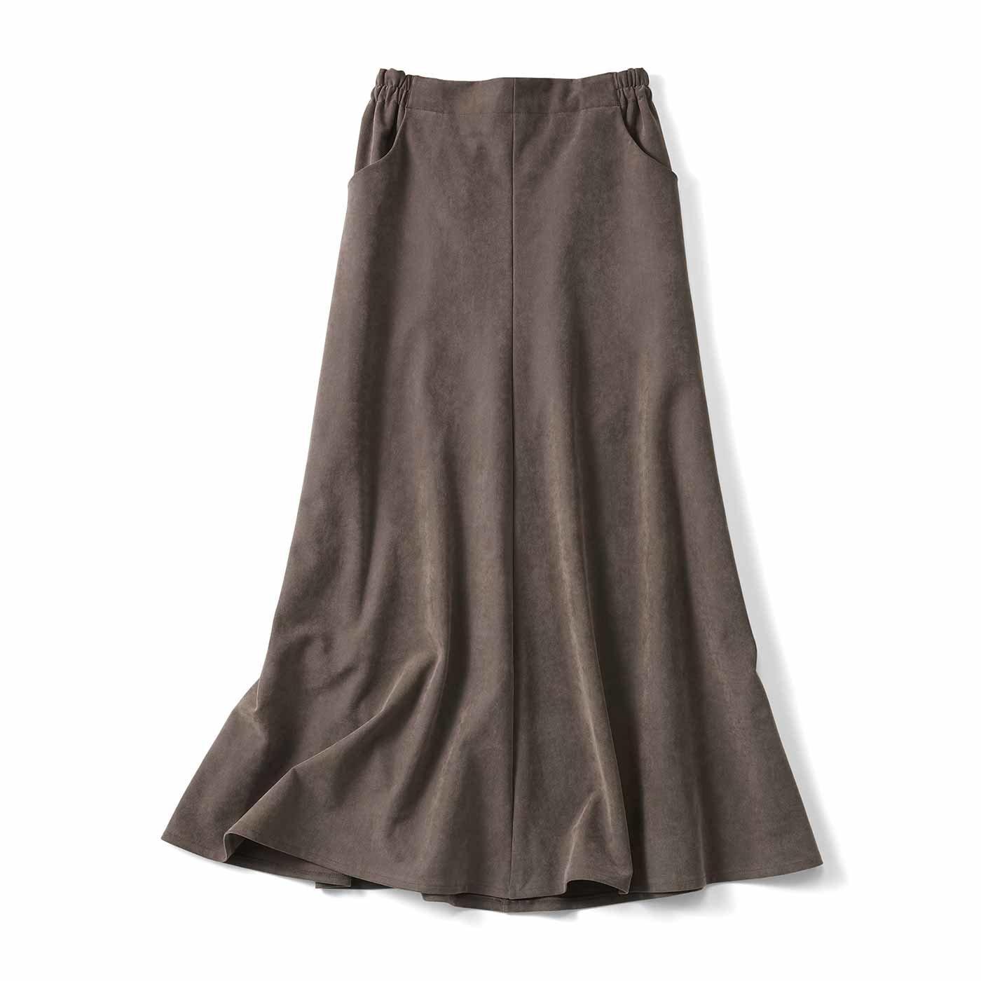 【3~10日でお届け】リブ イン コンフォート スッキリラインがレディーな 大人エコスエードスカート〈グレージュ〉