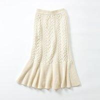 <フェリシモ>MEDE19F ケーブルニットスカート〈オフホワイト〉【送料無料】