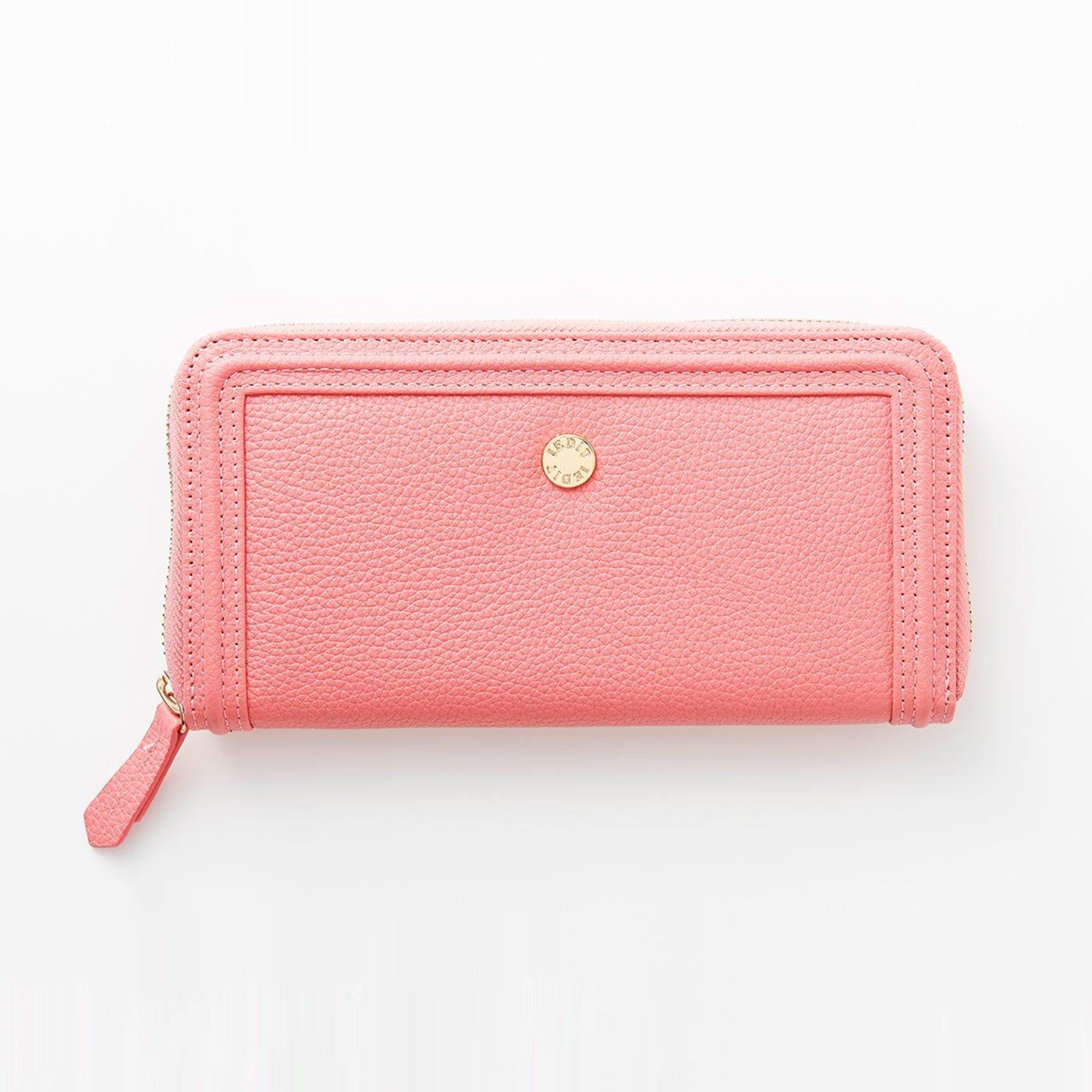 IEDIT[イディット]ワガママ企画 使いやすさをとことん追求 エレガントに映えるローズピンクの本革長財布〈ピンク〉