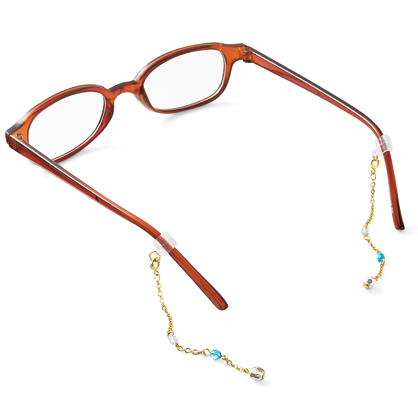 メガネのつるにはめるシリコーン製のストッパーでチェーンは取り外し可能です。