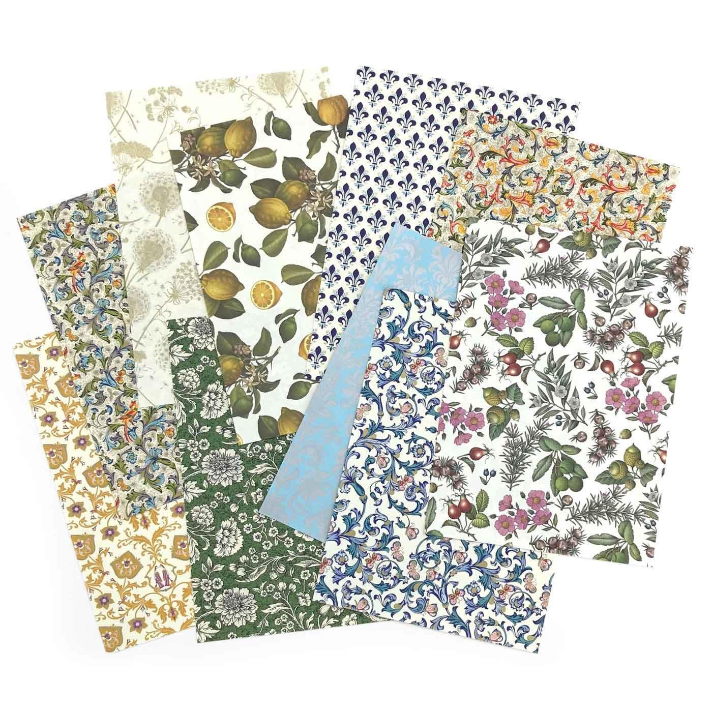 イタリアの老舗 ROSSI 社の美しいA4装飾紙10枚セット