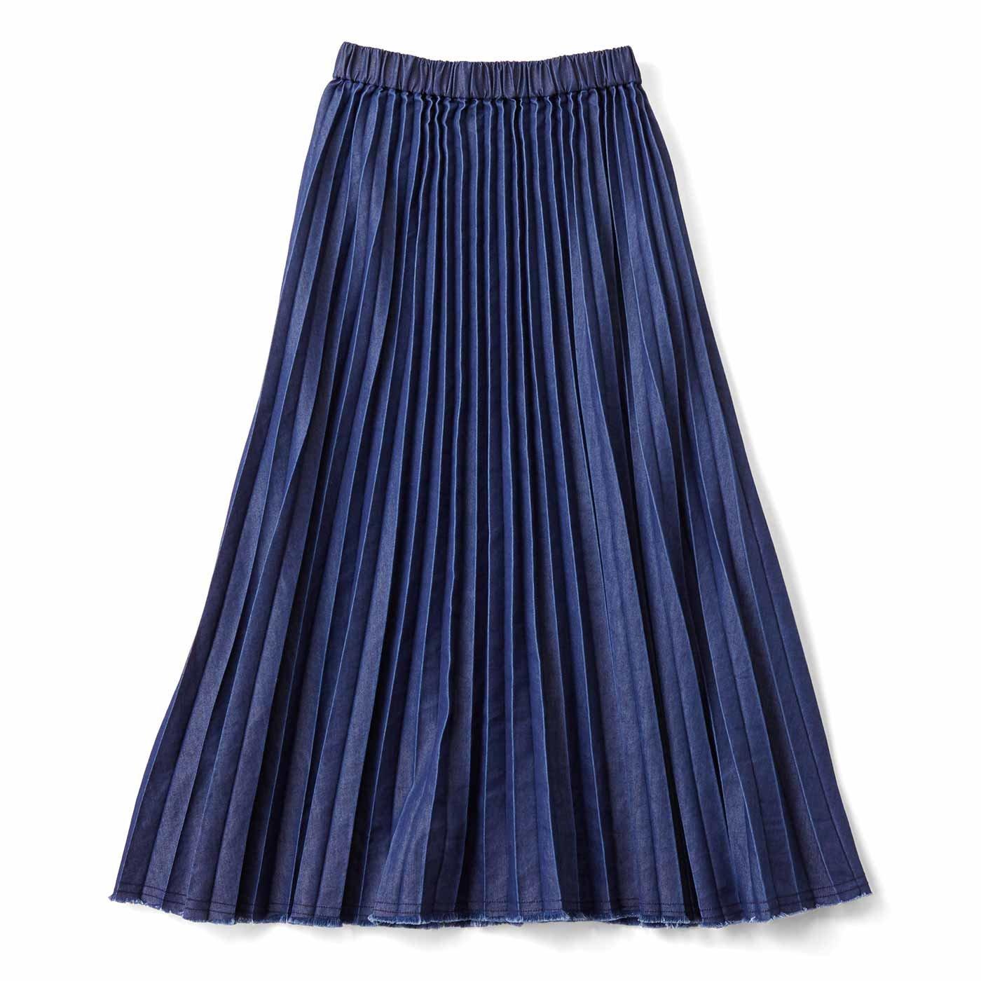 すそフリンジのデニムプリーツスカート