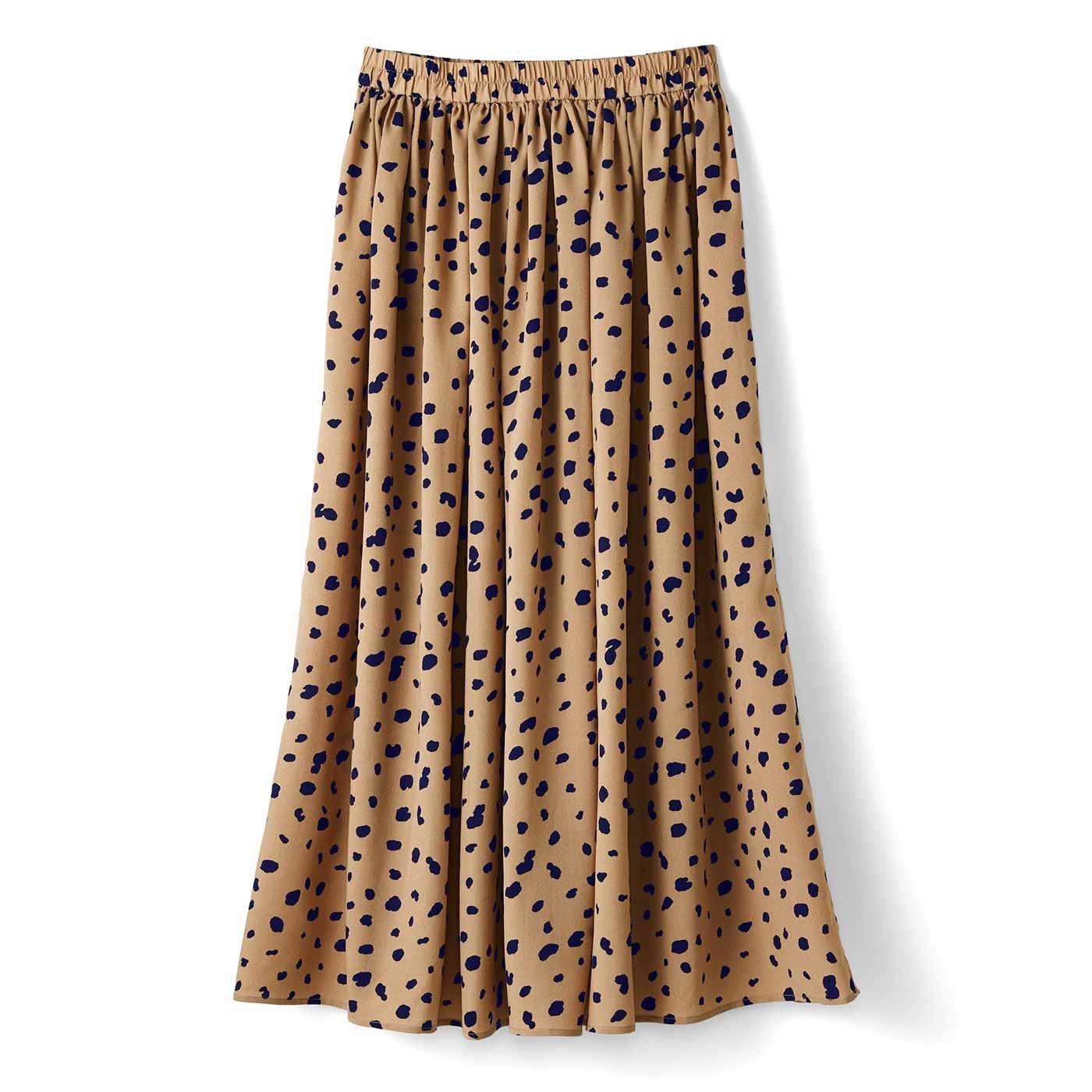 軽やかギャザーロングスカート〈ダルメシアン〉