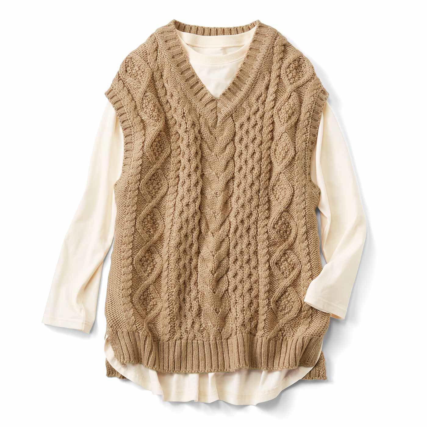 リブ イン コンフォート 着るだけで旬バランス! ざっくり編みのニットベストセット〈ベージュ〉