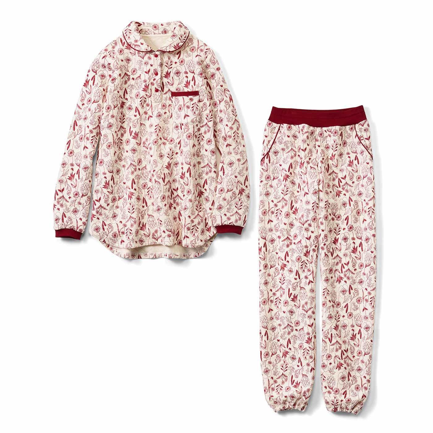 リブ イン コンフォート コットンのふわふわやさしい肌心地 ボタニカルキルティングパジャマ〈レッド〉
