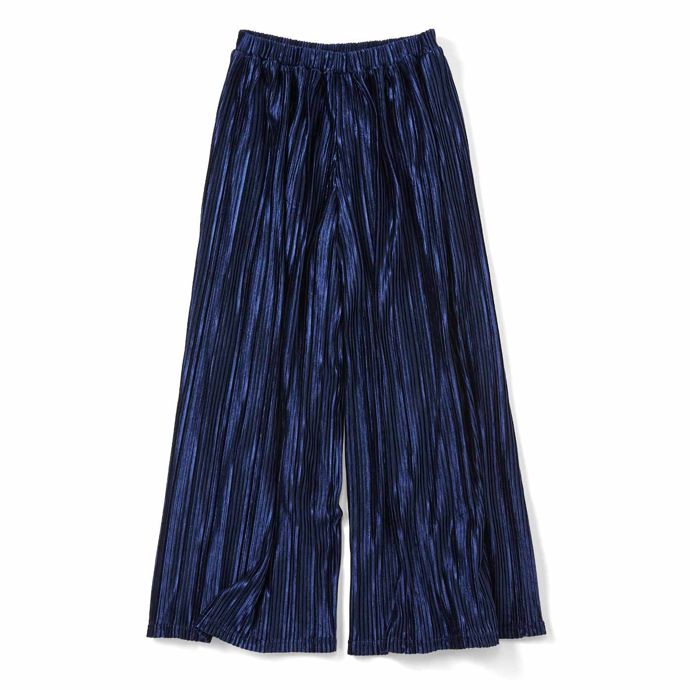 リブ イン コンフォート スカートの上品さとパンツのらくちんさを兼ね備えた 細プリーツベロアガウチョ〈ネイビー〉