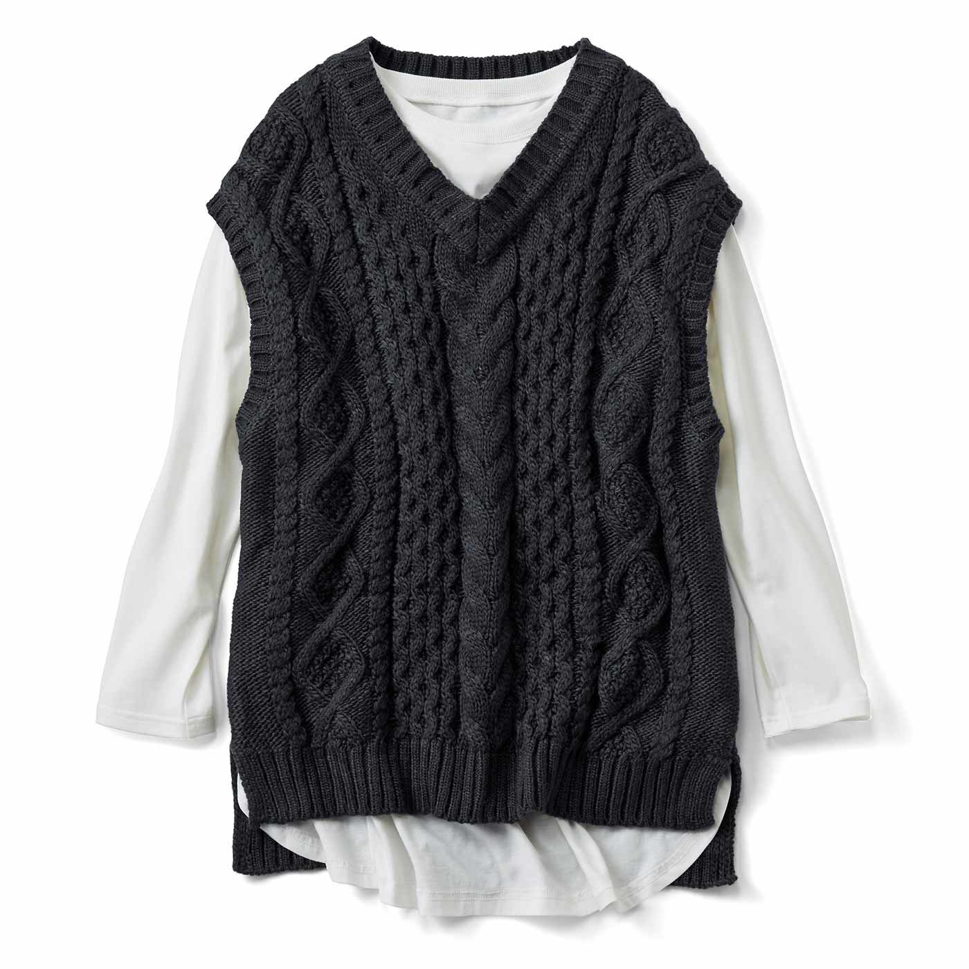 リブ イン コンフォート 着るだけで旬バランス! ざっくり編みのニットベストセット〈ダークグレー〉