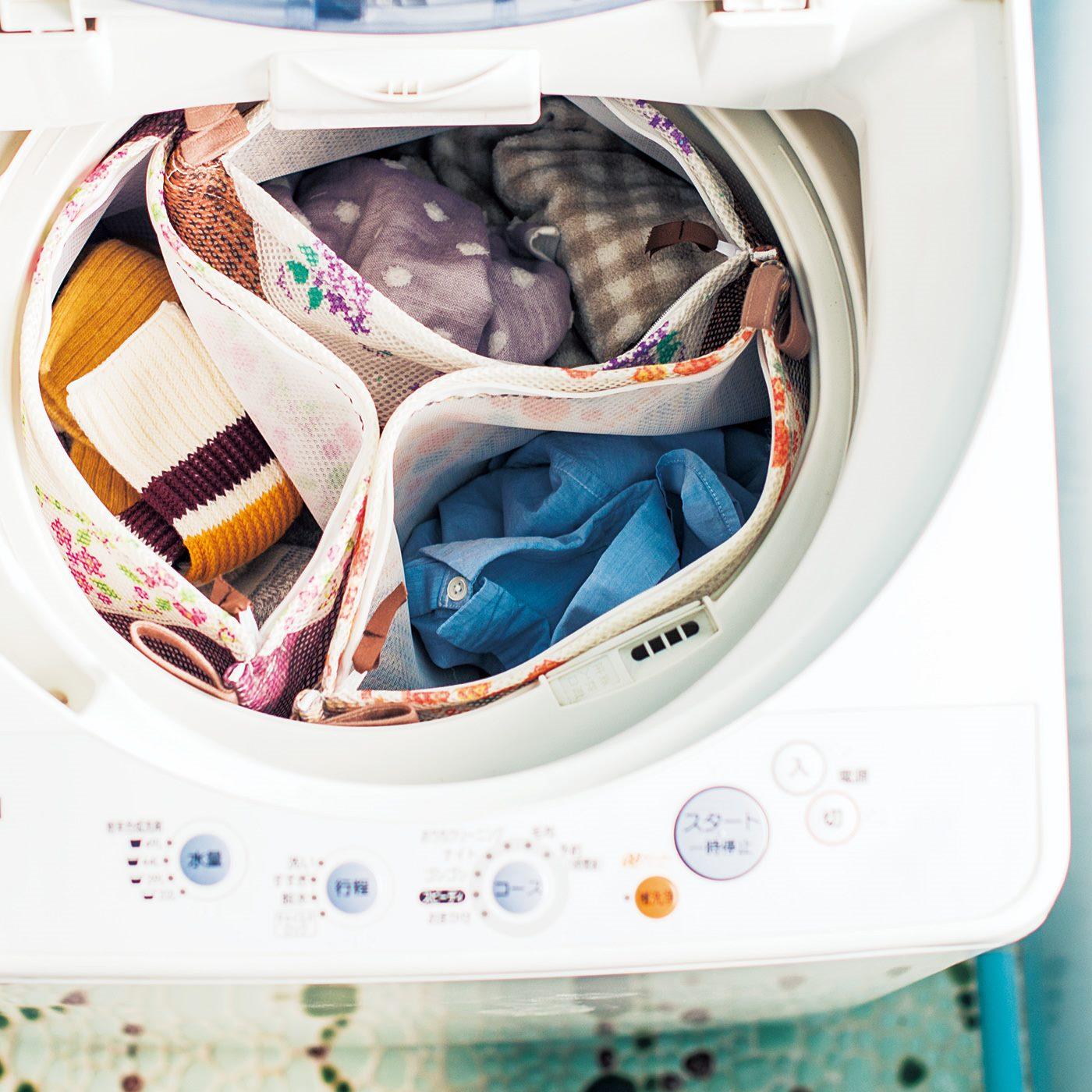 洗濯機の中にネットをスタンバイさせておいても便利。