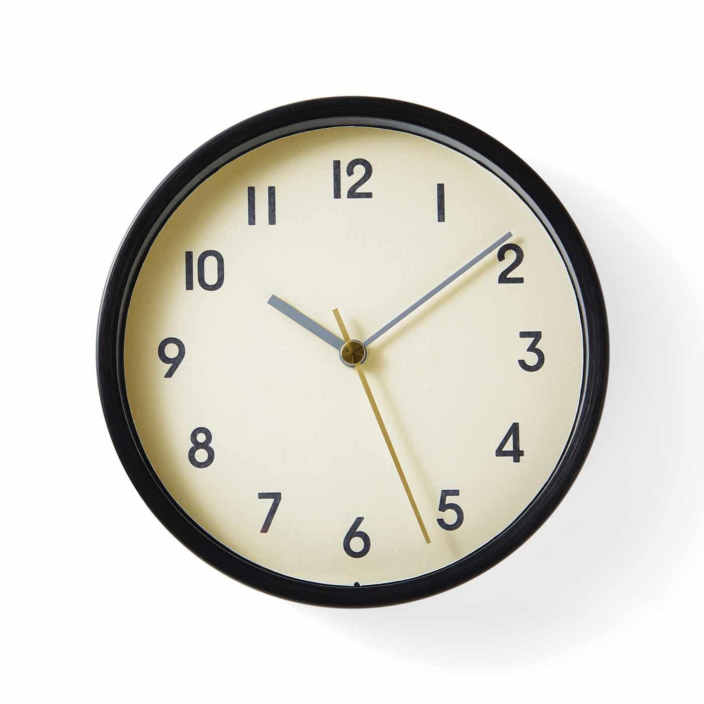 無骨な雰囲気の 小さめ置き掛け時計〈マットブラック〉