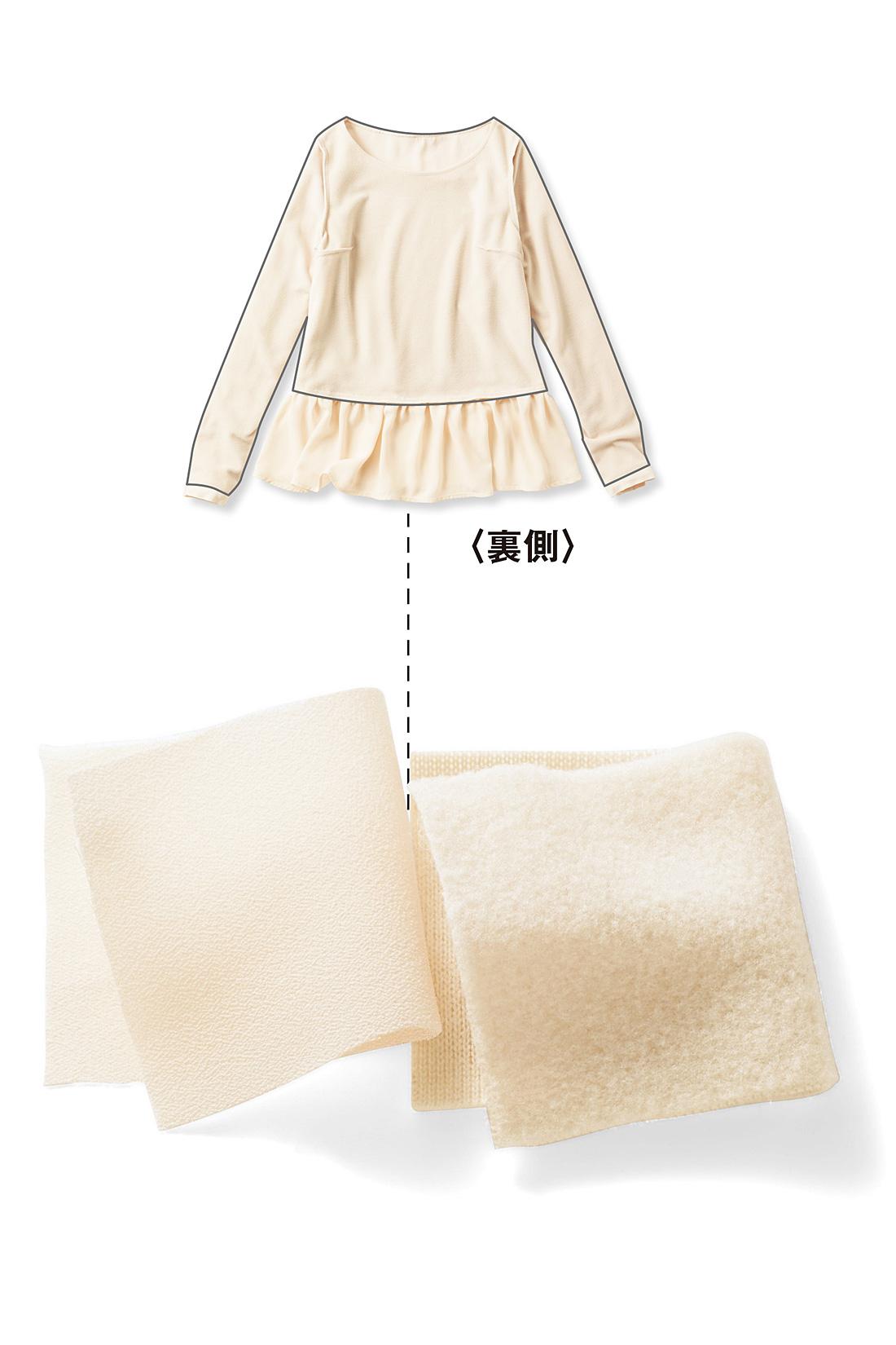 これは参考画像です。袖や身ごろの内側はふんわり起毛した厚手のカットソー付き。