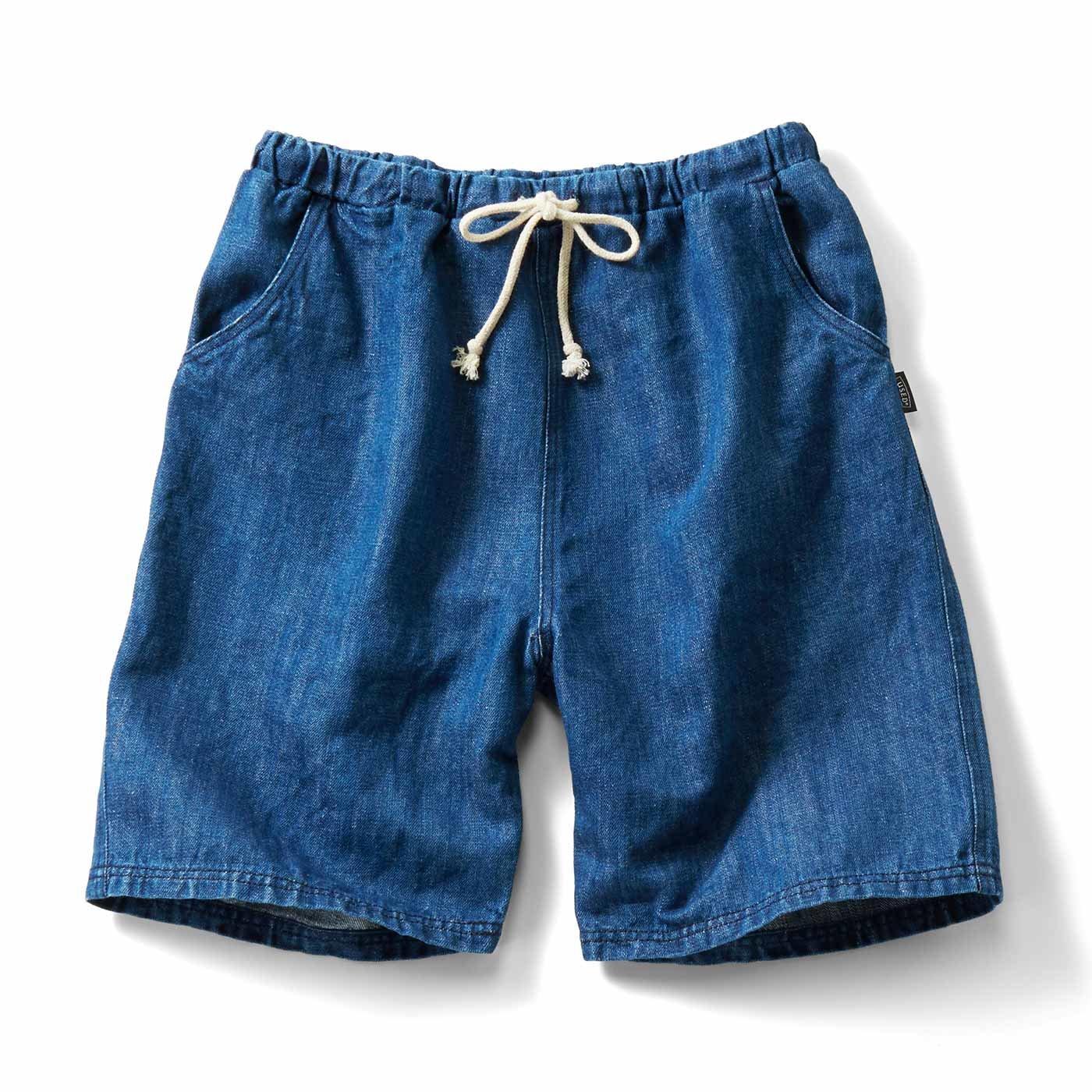 古着屋さんで見つけたような 綿麻デニムのショートパンツ〈インディゴブルー〉