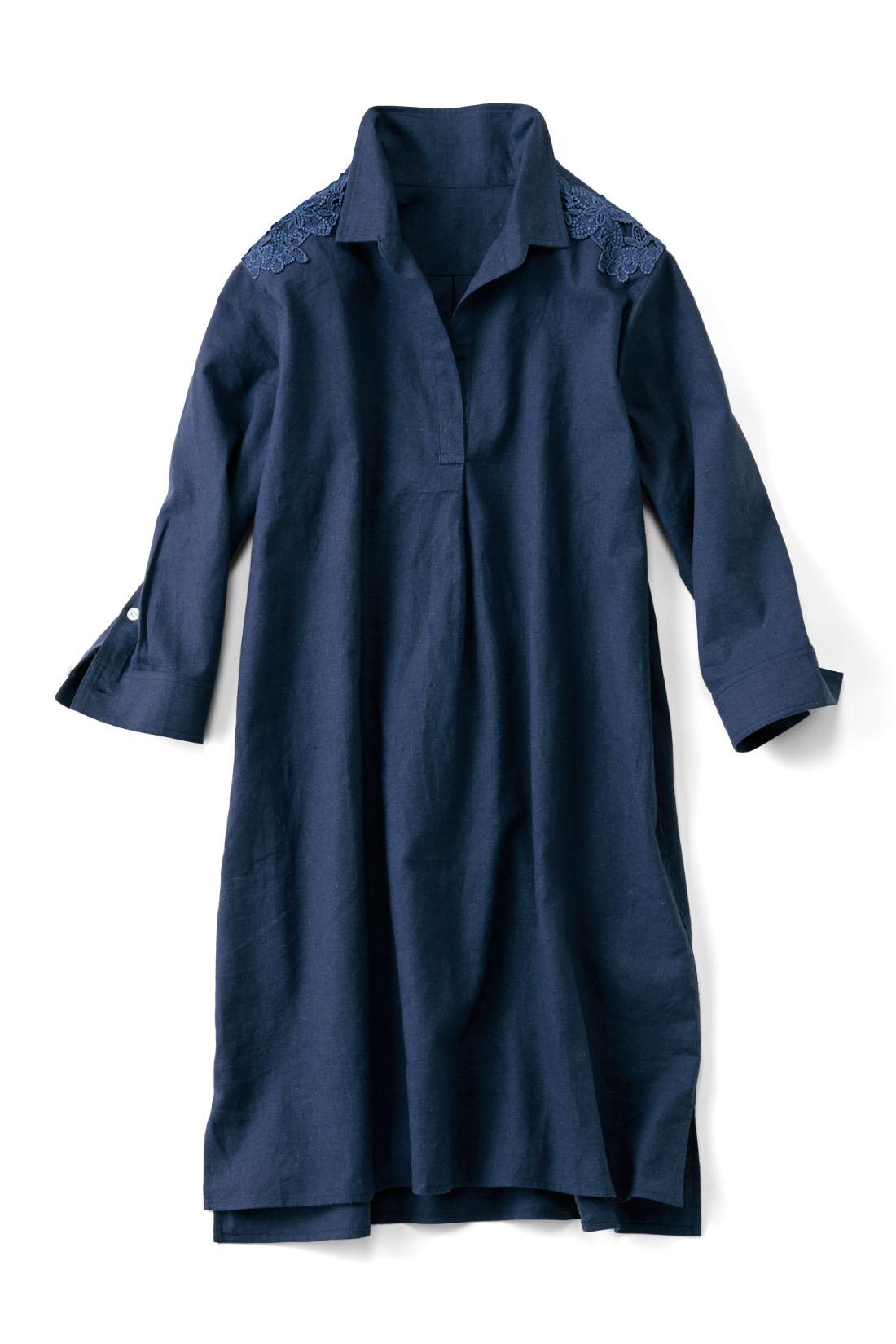 上品な【ネイビー】 サッと着られるスキッパータイプの胸もと。