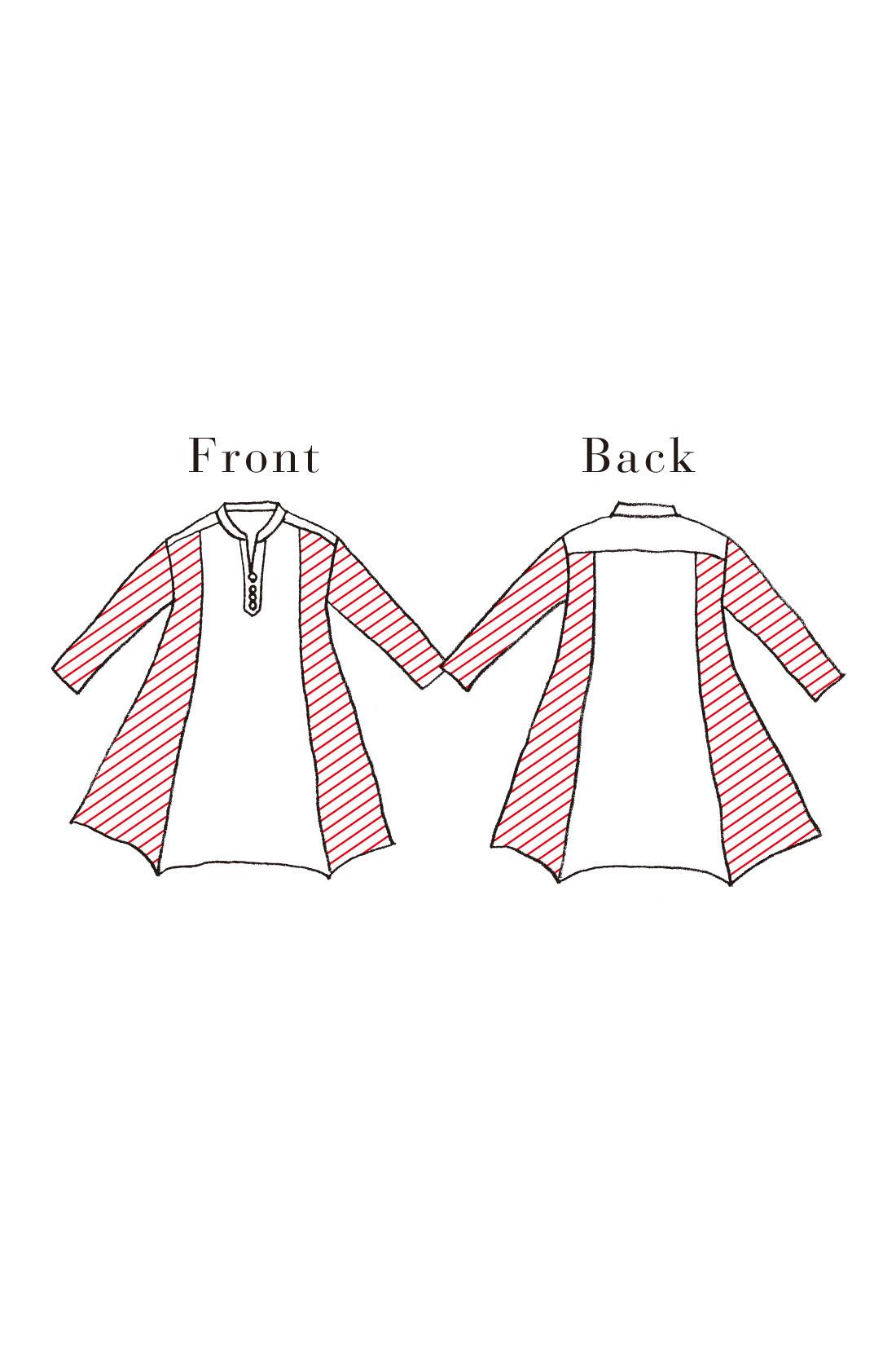 サイドと袖は伸びやかなカットソーで着心地らくちん。