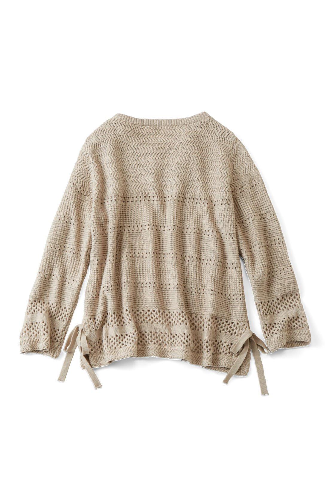 BACK 後ろも透かし編みデザインで華やか。 ※お届けするカラーとは異なります。