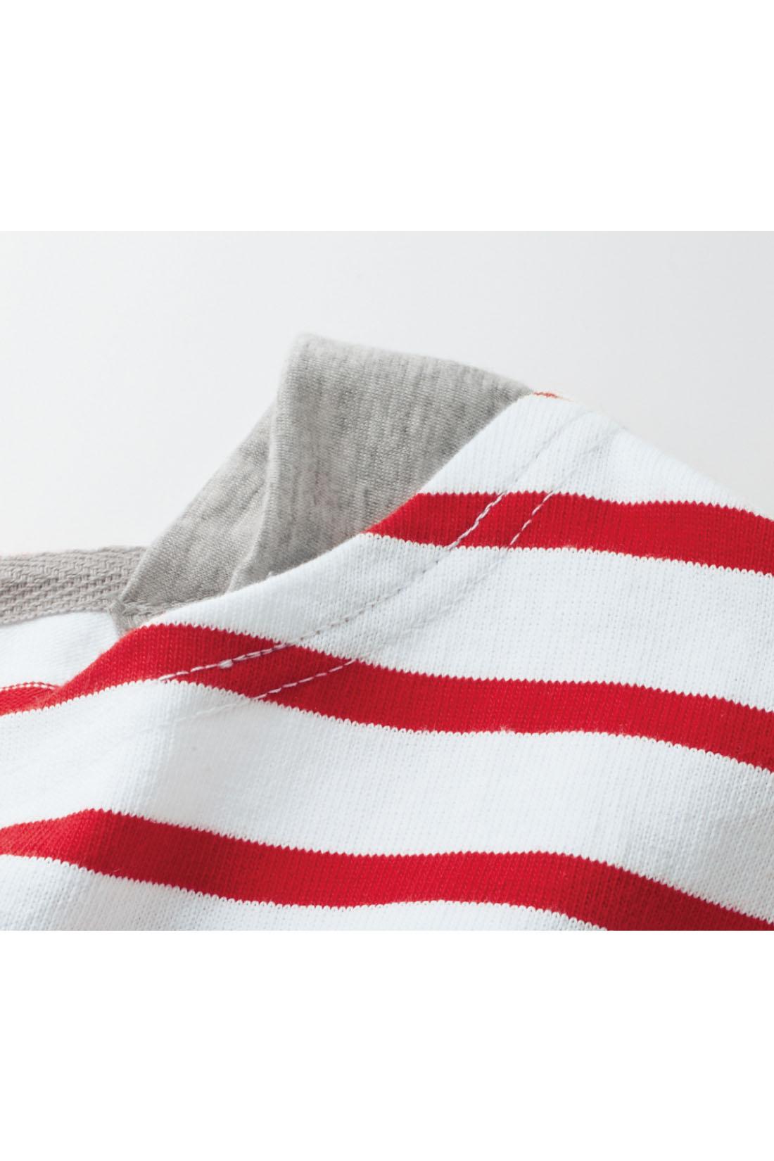 すっきり見えする広めの衿ぐりは肩当て付きで下着のチラ見えを防止。 ※お届けするカラーとは異なります。