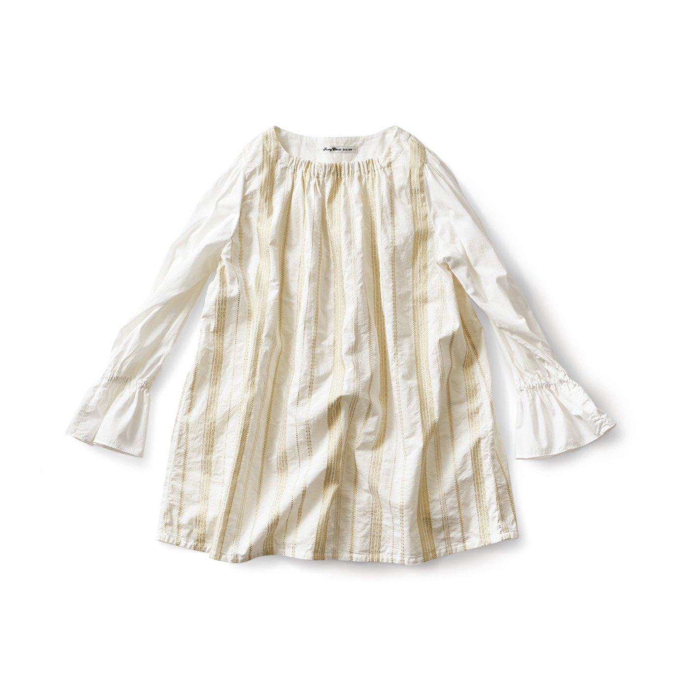 サニークラウズ 黄金色の織り模様チュニック〈レディース〉