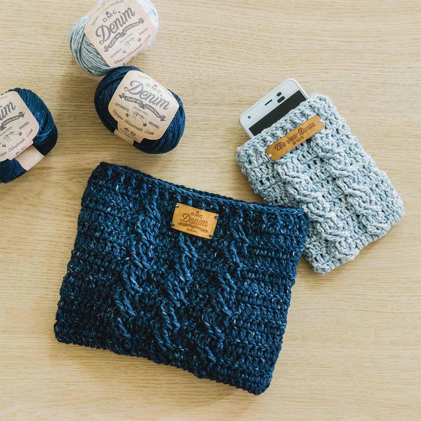 DMC Natura Denim(ナチュラデニム)で編むかぎ針編みミニバッグとスマホケースキット