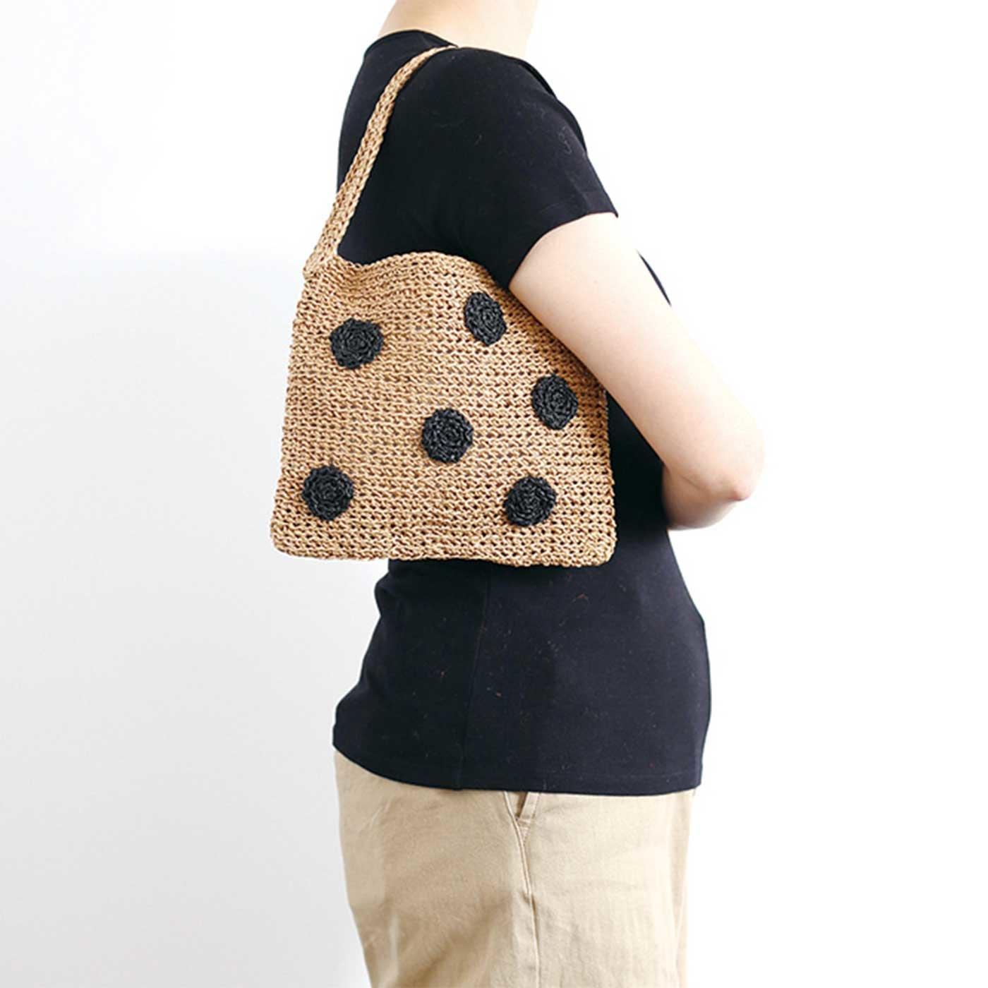 水玉ベージュのバッグが編める SASAWASHI糸とミニブック「PatternsNote」