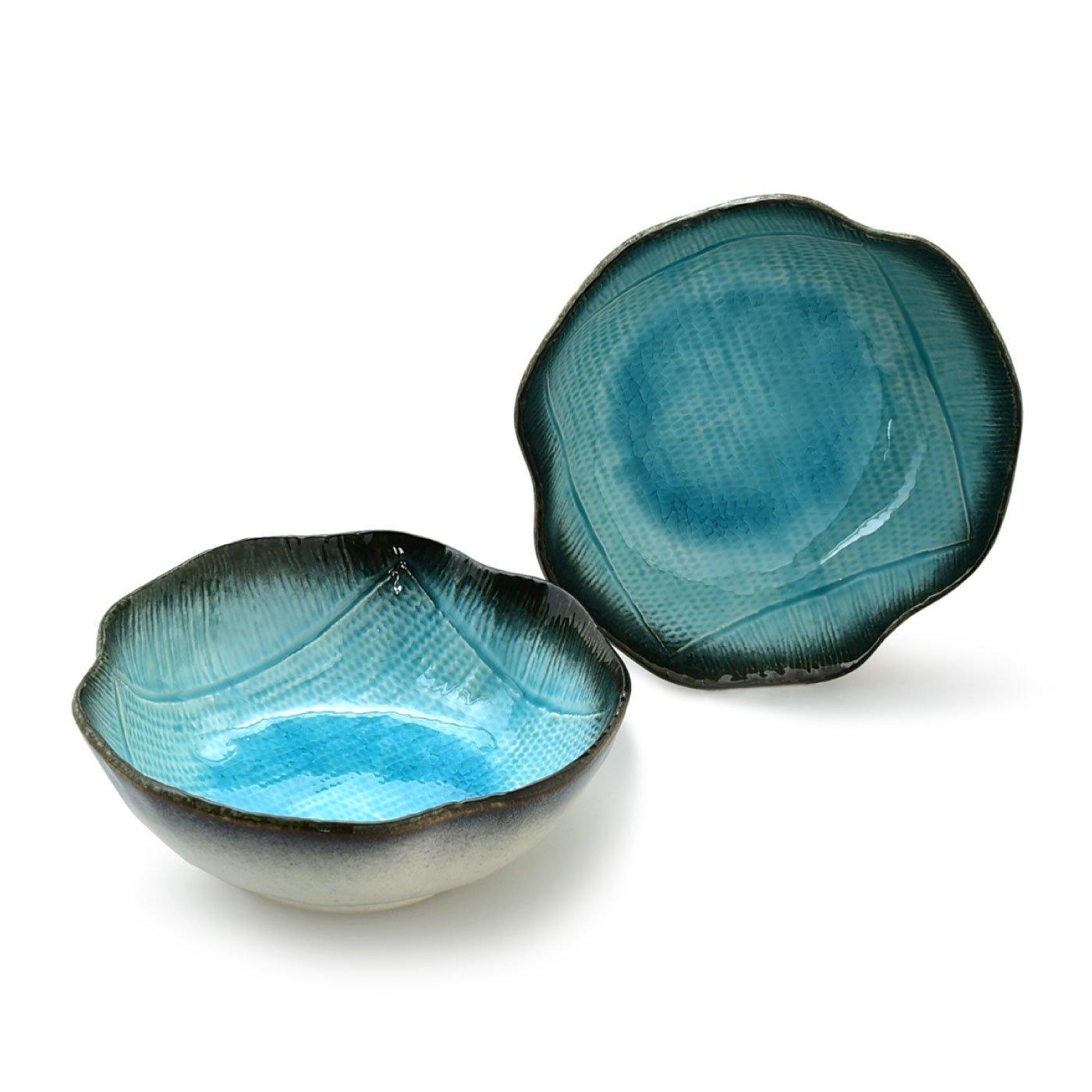 清涼なブルーが美しいうつわ湧水 奴鉢2個セット
