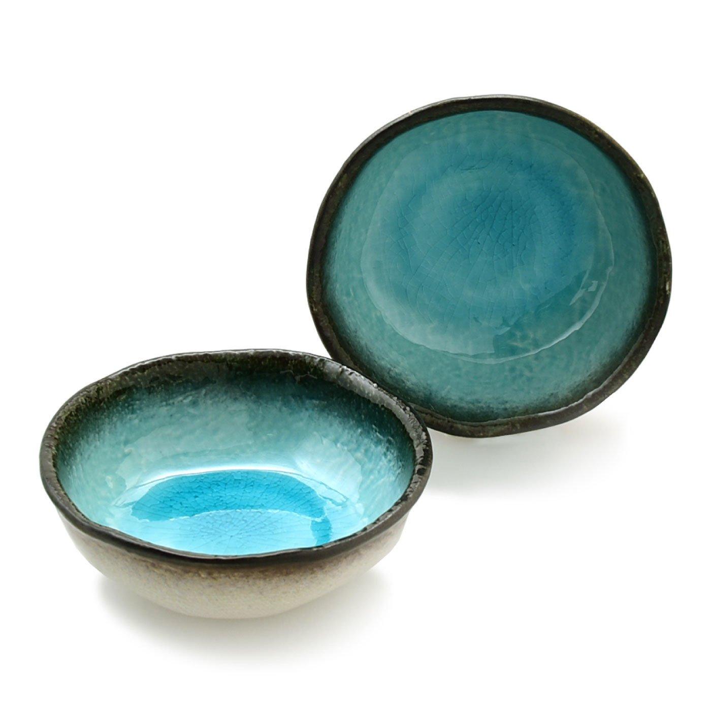 清涼なブルーが美しいうつわ湧水 小鉢2個セット