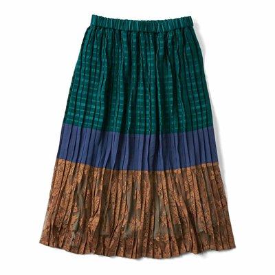 <フェリシモ>配色でおしゃれさん プリーツスカート〈グリーンボーダー〉【送料無料】