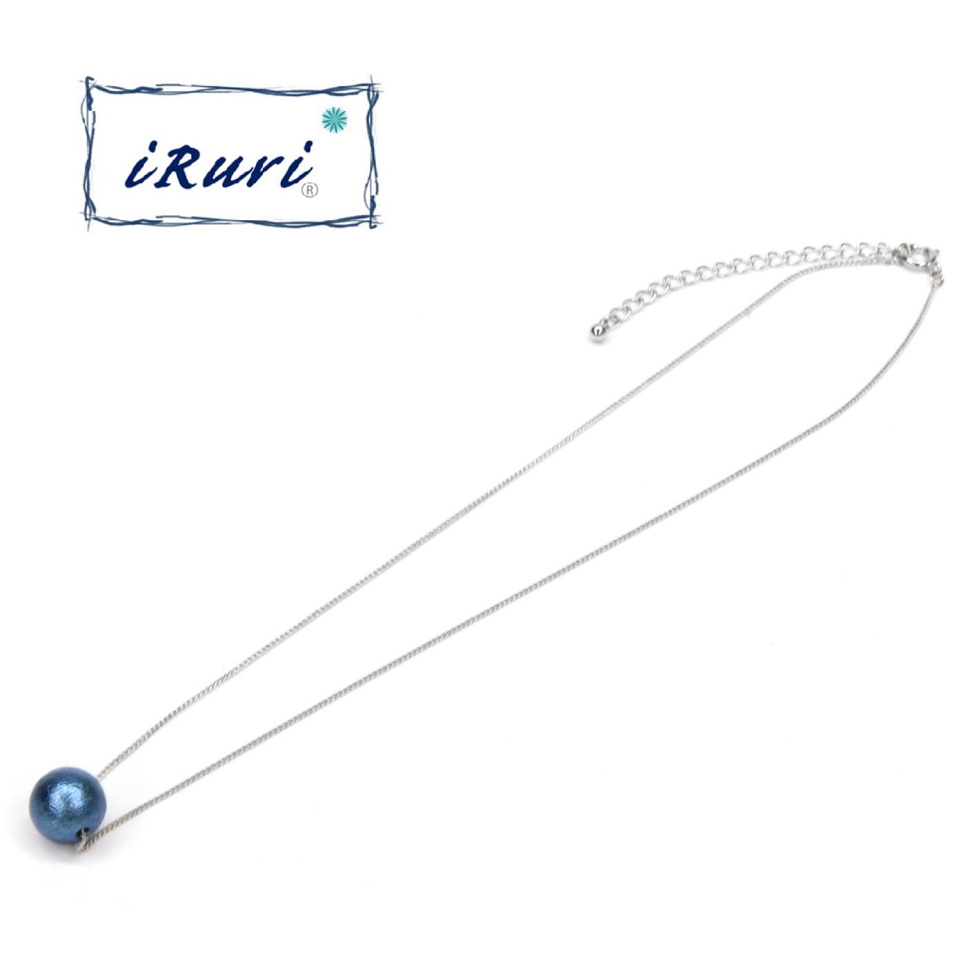 藍染ネックレス 一粒ネックレス 「つゆくさ」10mm