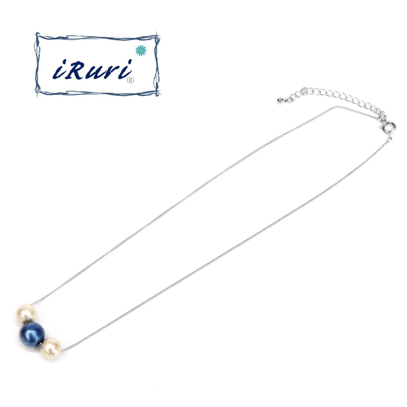 藍染三粒ネックレス グラデーション 「しらはな」10mm
