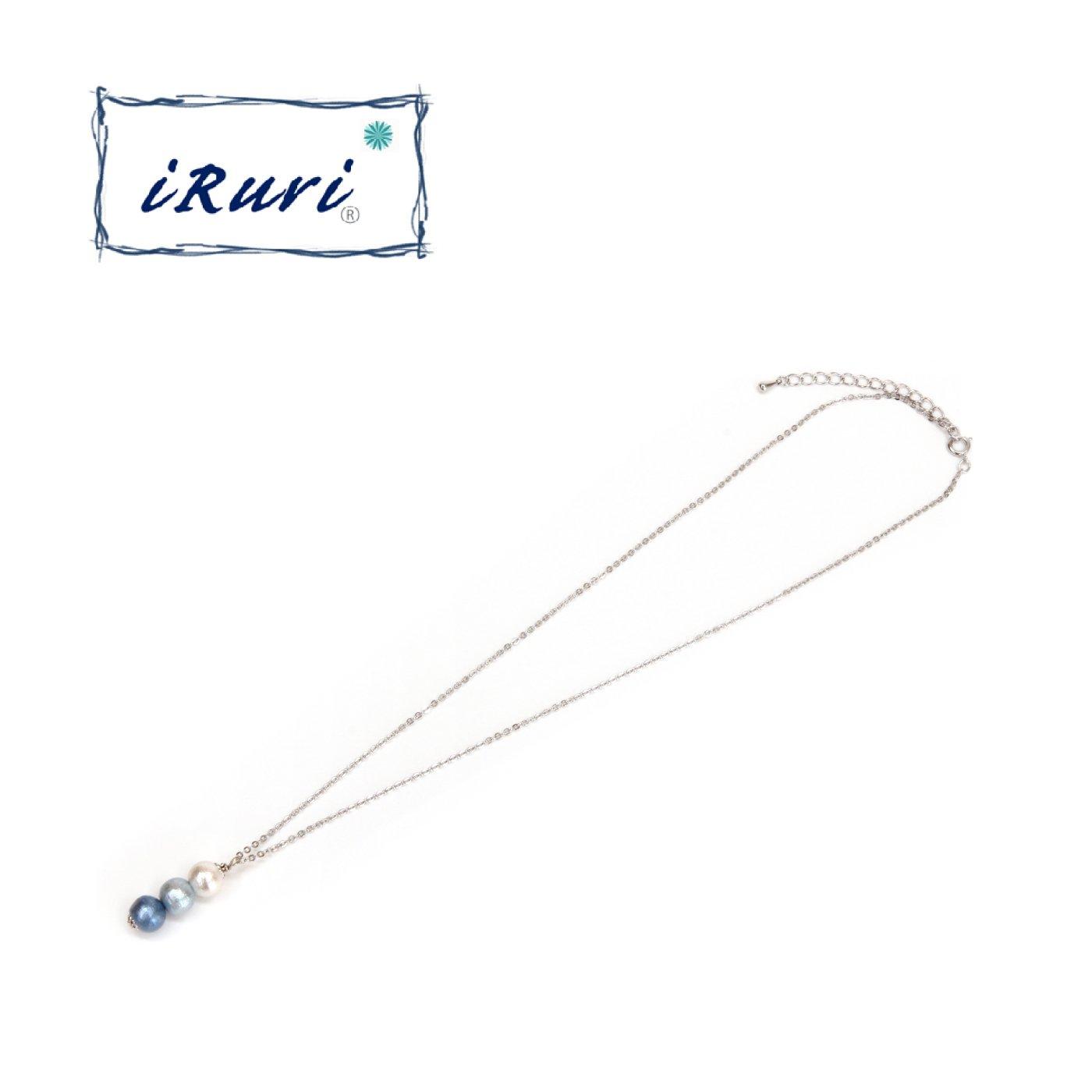 藍染三粒ネックレス グラデーション 「せせらぎ」8mm