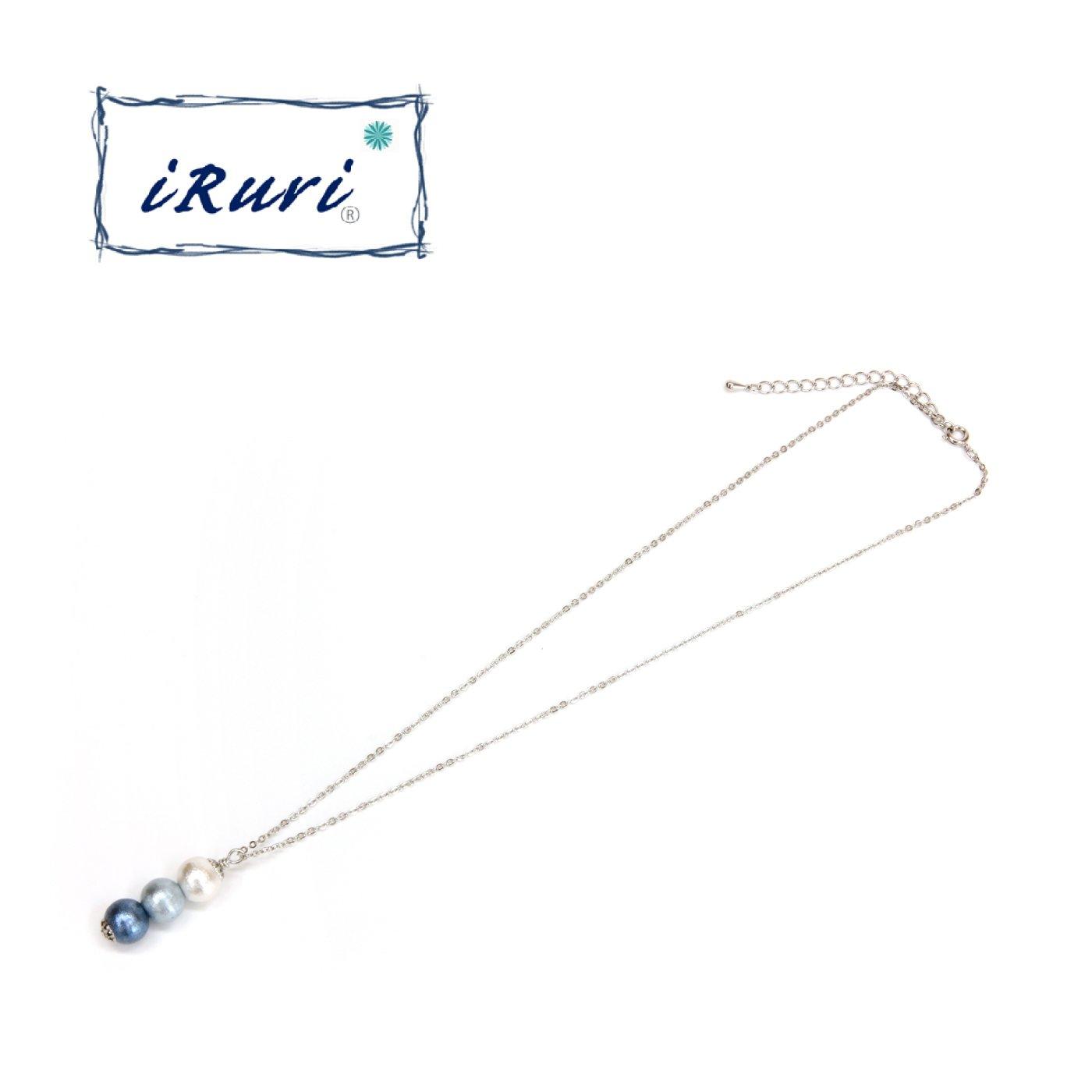 藍染三粒ネックレス グラデーション 「せせらぎ」10mm