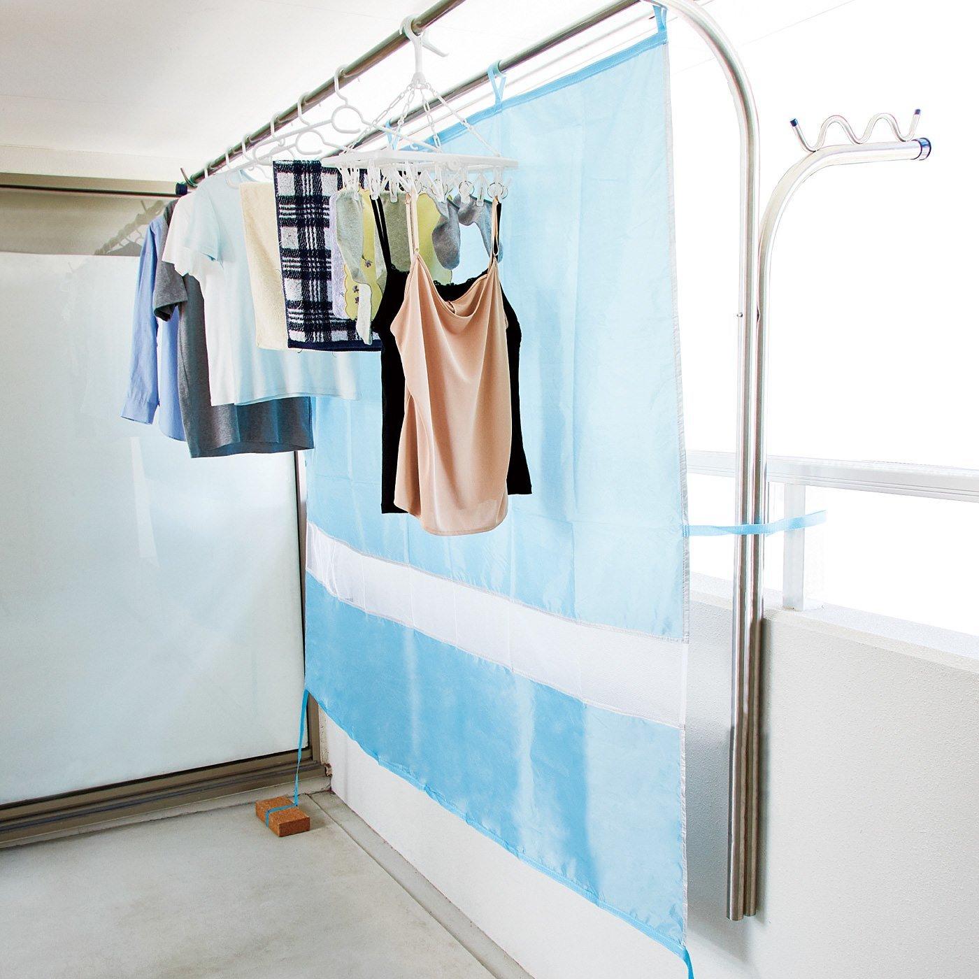 雨と日差しから守る! たっぷり200cm幅の洗濯物ベランダカーテン