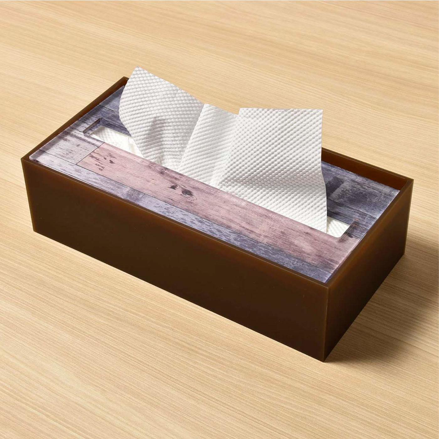 フェリシモ 洗面所もOK ウッド風ティッシュケース(ペーパータオルケース)