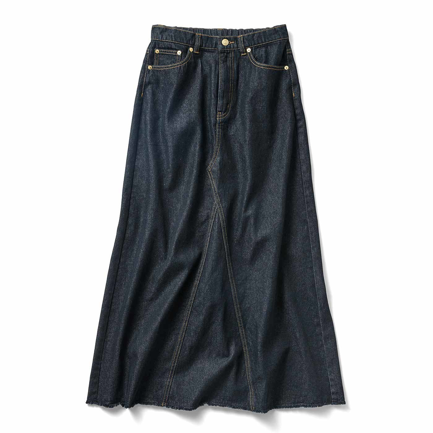 IEDIT[イディット] 小森美穂子さんコラボ 洗いをかけたこなれブラックデニムロングスカート