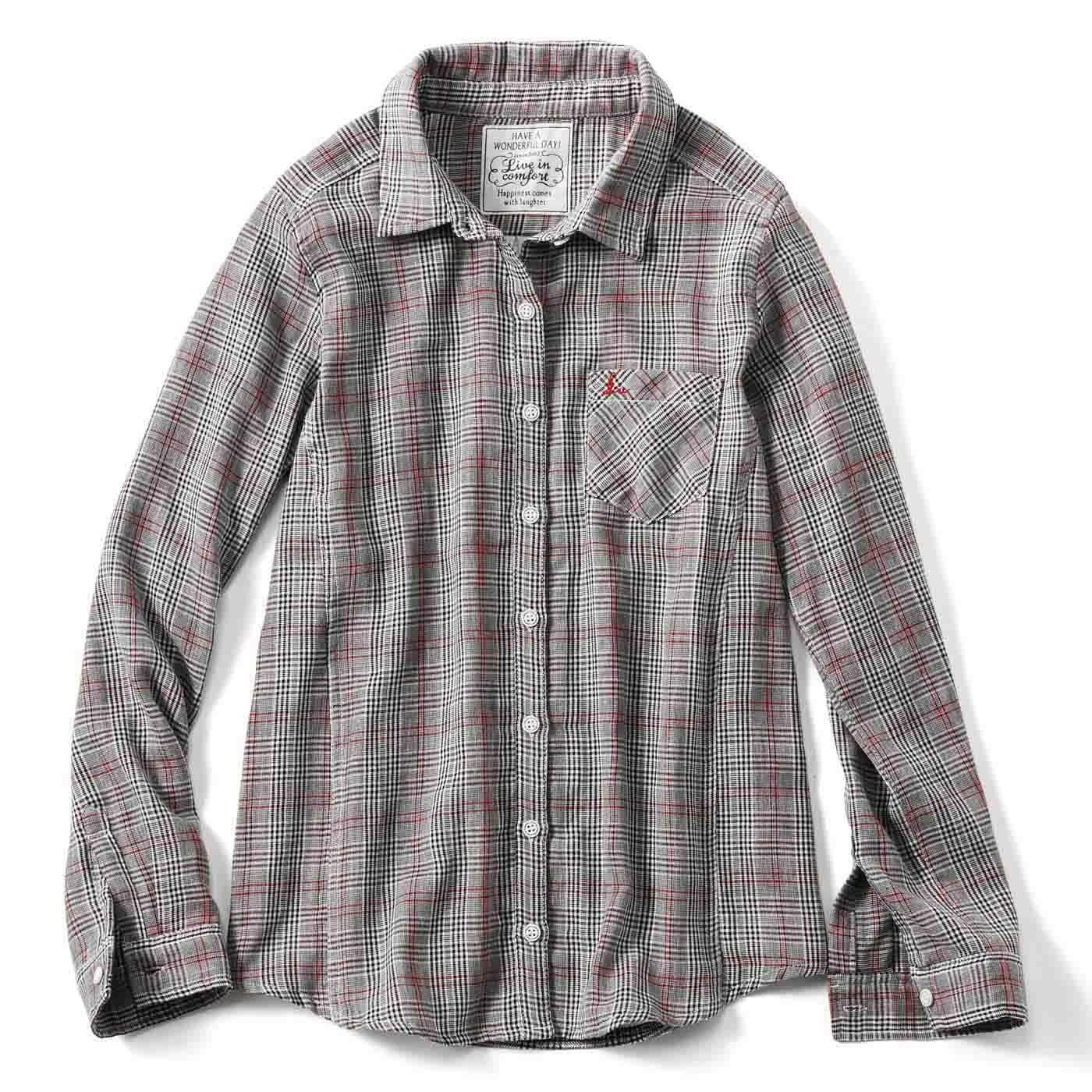 リブ イン コンフォート 重ね着してももたつかない! ストレッチガーゼ×カットソーの伸びシャツ〈グレンチェック〉