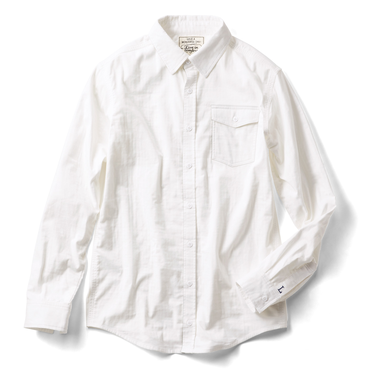 リブ イン コンフォート 重ね着してももたつかない! ストレッチガーゼ×カットソーのメンズ伸びシャツ〈オフホワイト〉