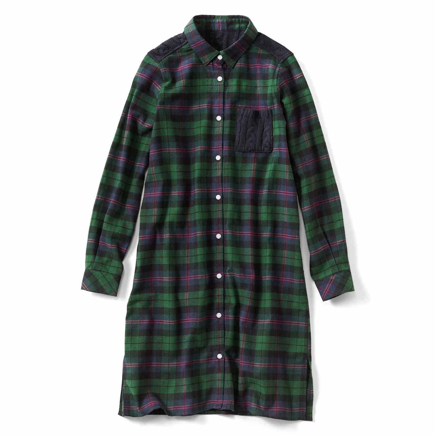 リブ イン コンフォート ニット切り替えがやさしい雰囲気のチェックシャツチュニック〈グリーン〉