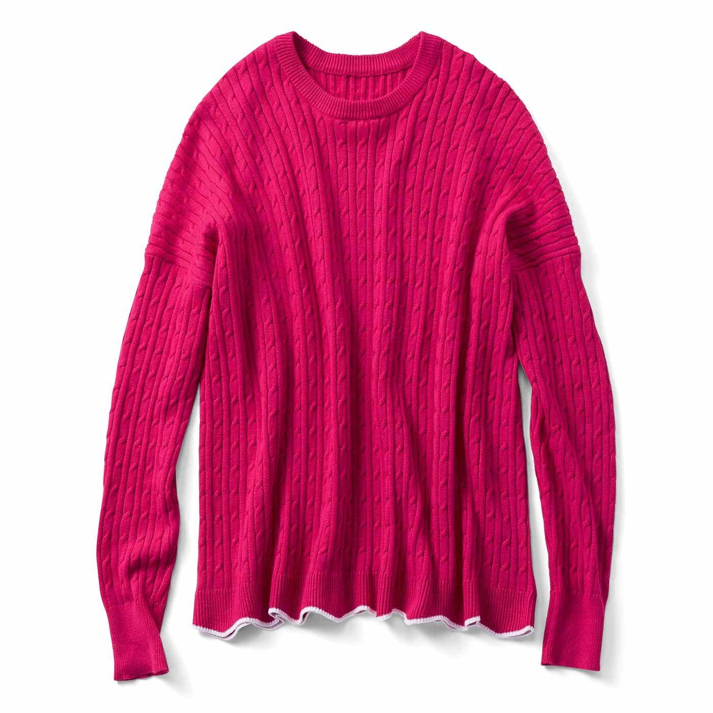 リブ イン コンフォート ゆったりラインで着こなしやすい 総柄ケーブル編みシルク混ニット〈ピンク〉