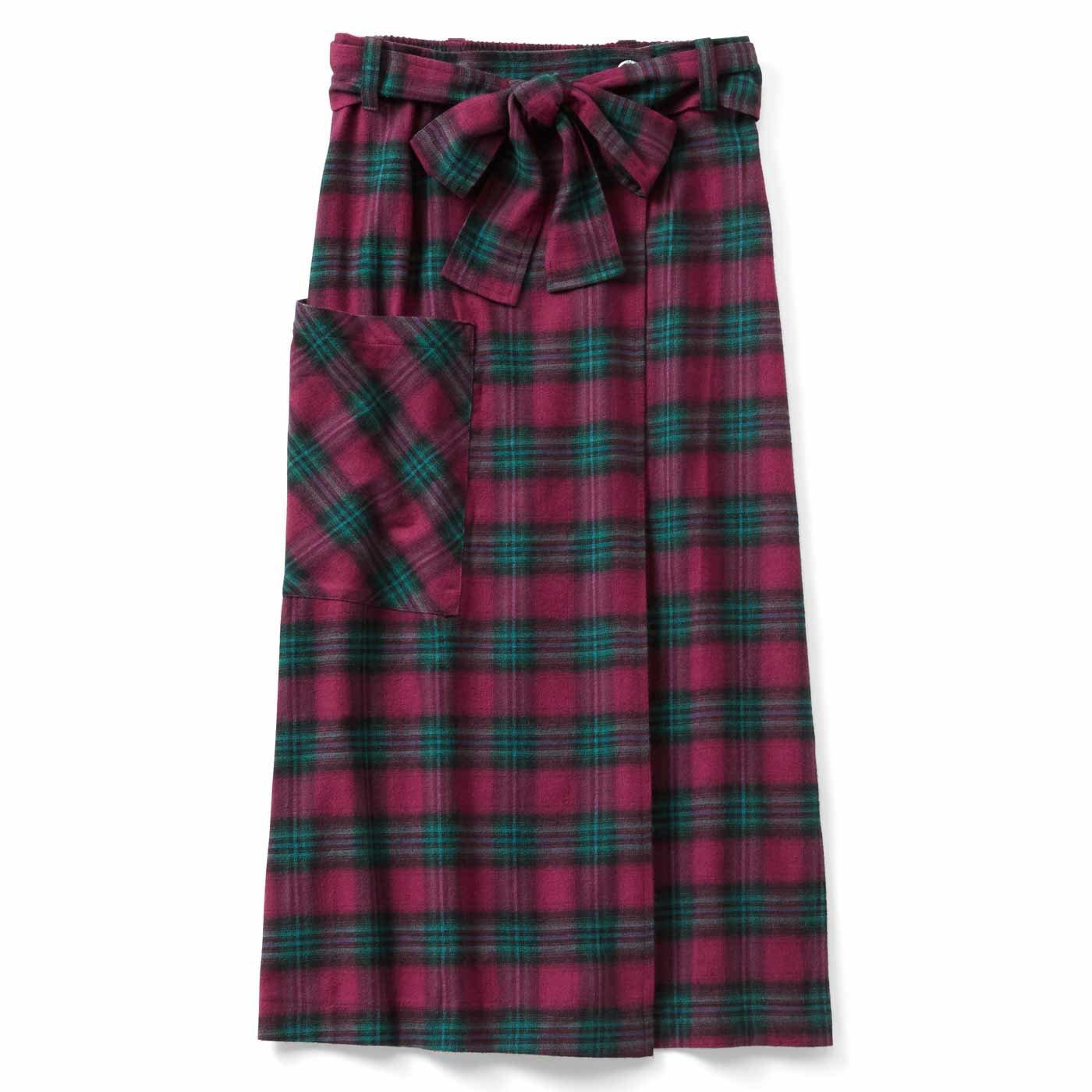 リブ イン コンフォート ラップ仕立てですっきり見え チェックのミドル丈スカート〈ピンク〉