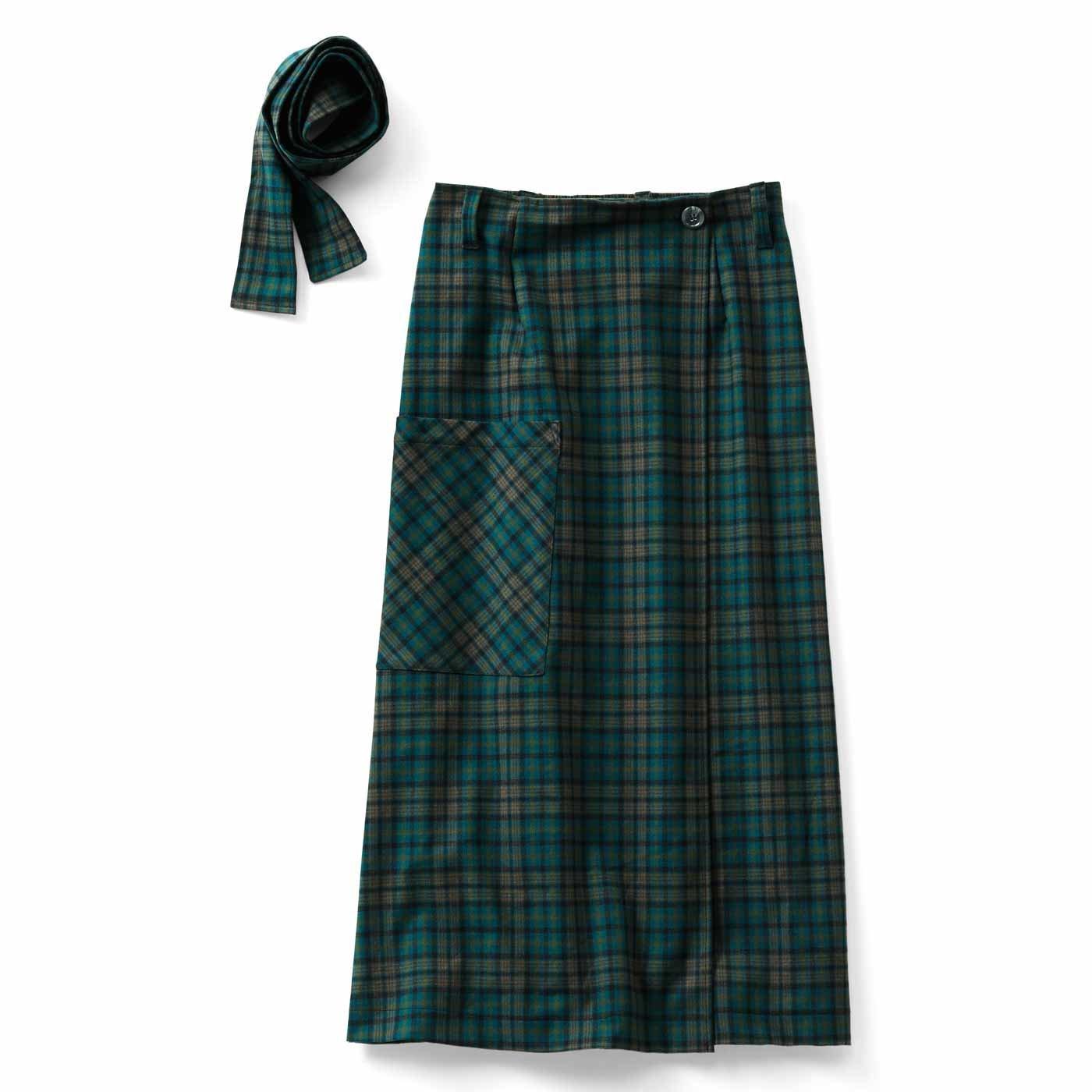 リブ イン コンフォート ラップ仕立てですっきり見え チェックのミドル丈スカート〈グリーン〉