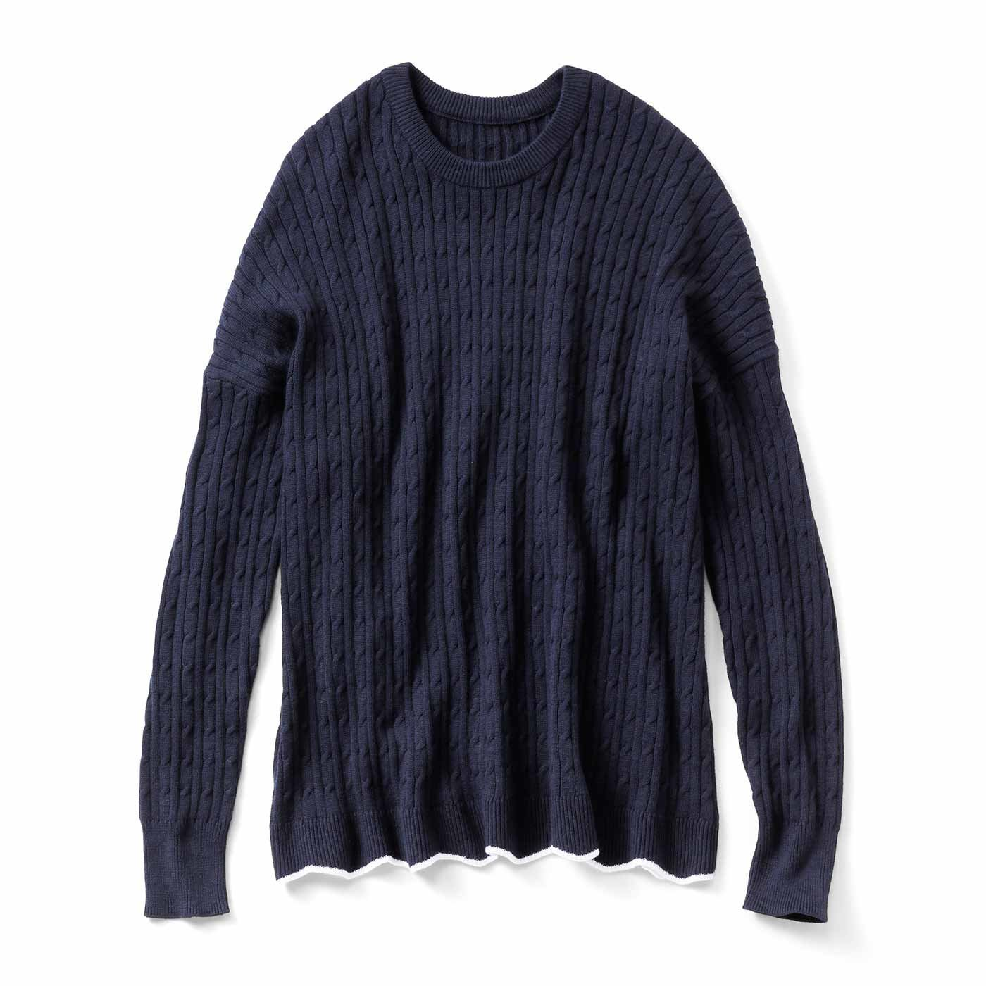 リブ イン コンフォート ゆったりラインで着こなしやすい 総柄ケーブル編みシルク混ニット〈ネイビー〉