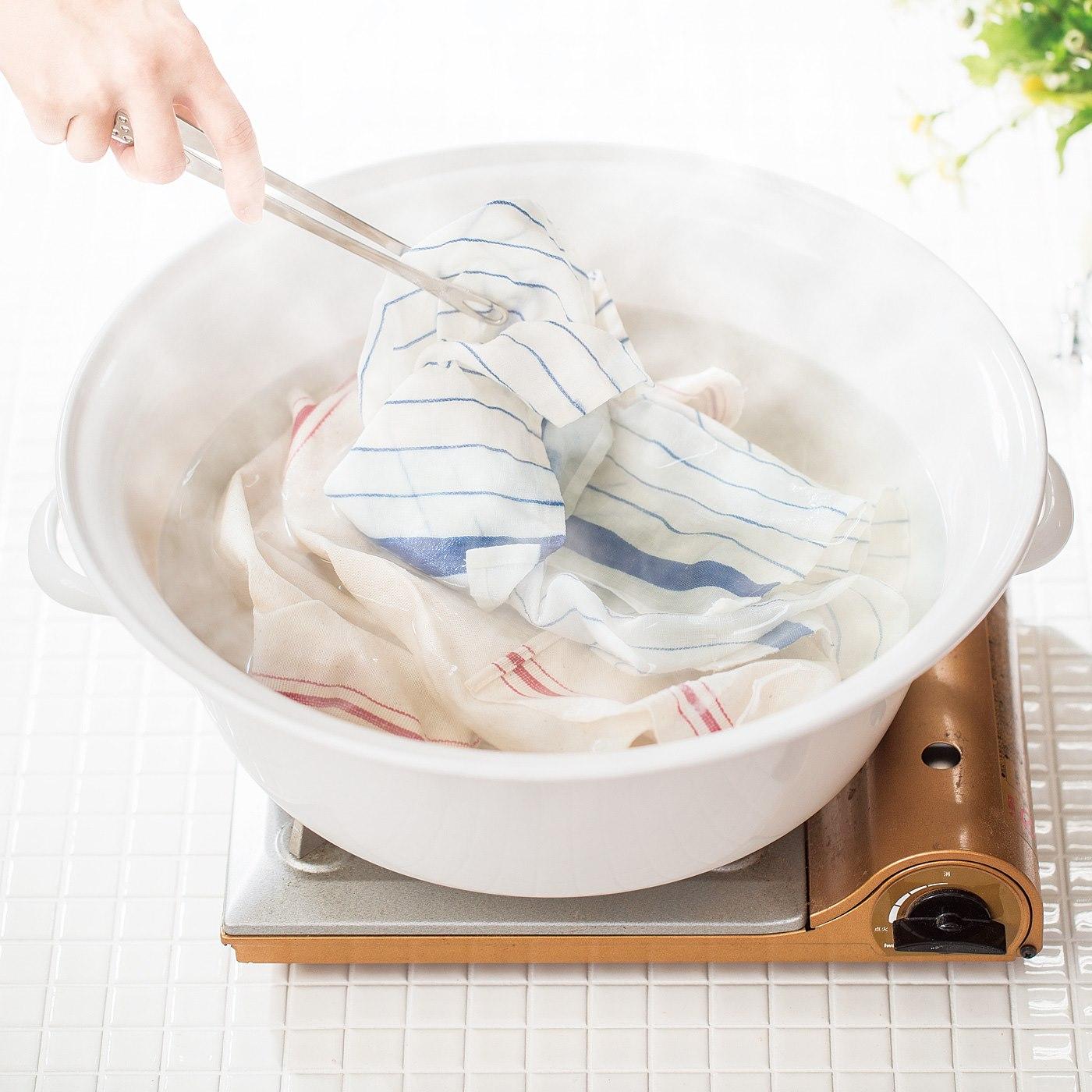 直火OKのビッグなたらい!Tシャツやふきんの煮洗いに。