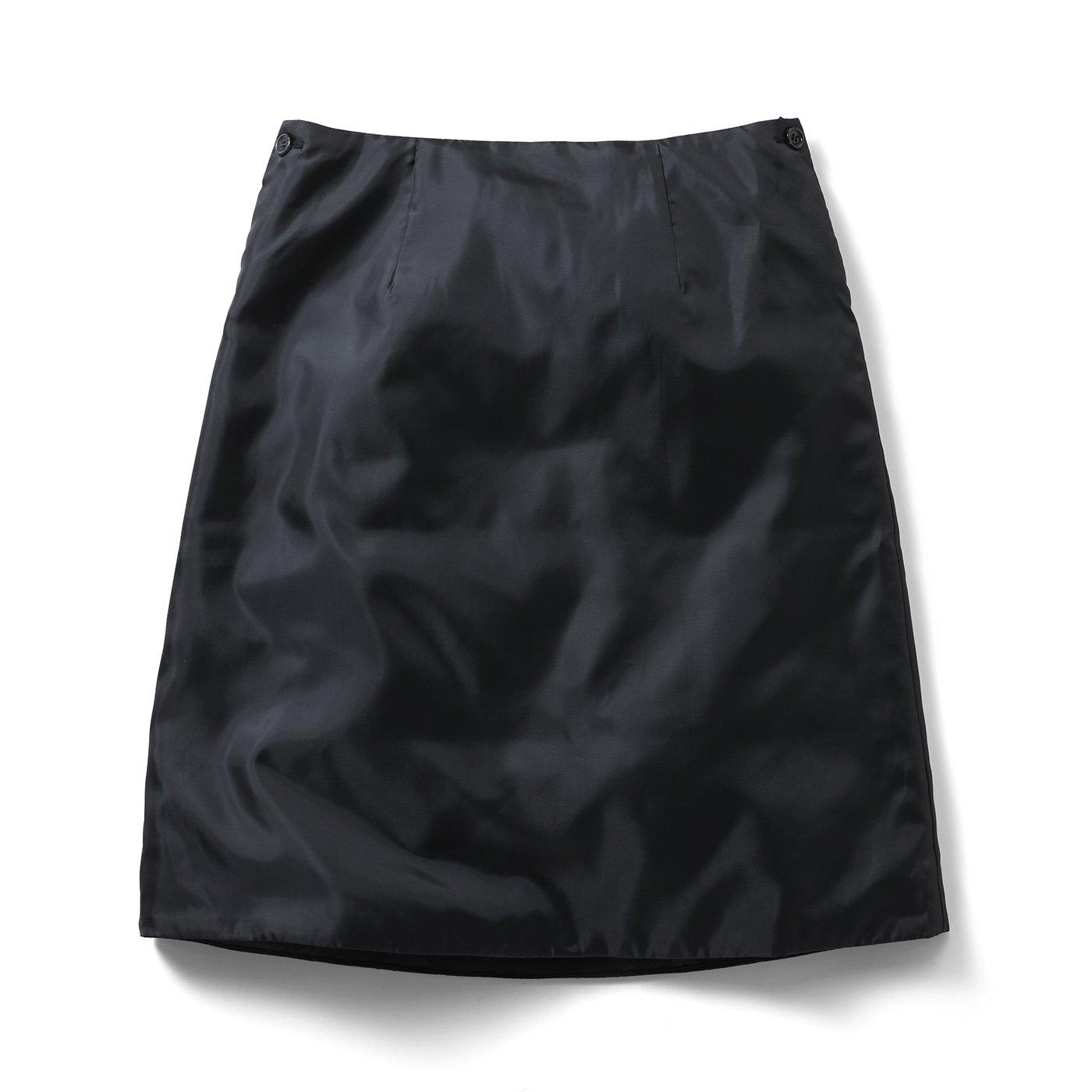 【3~10日でお届け】IEDIT[イディット] 寒くてもスカート派!さんの味方 暖かさをプラスする中わた入りインナーペチスカート〈ブラック〉