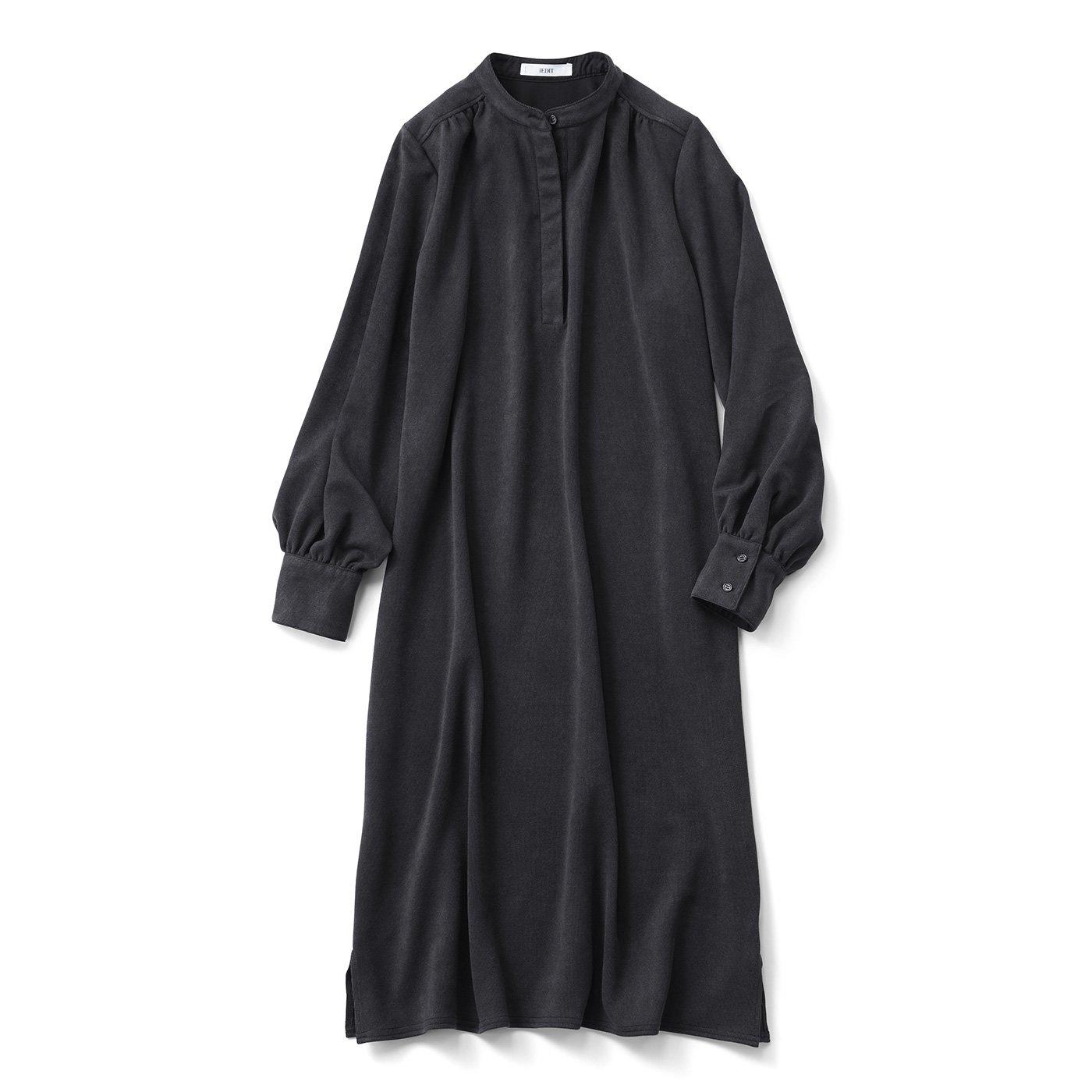 IEDIT[イディット] 伸びやかな着心地 カットソーコーデュロイのシャツワンピース〈ブラック〉