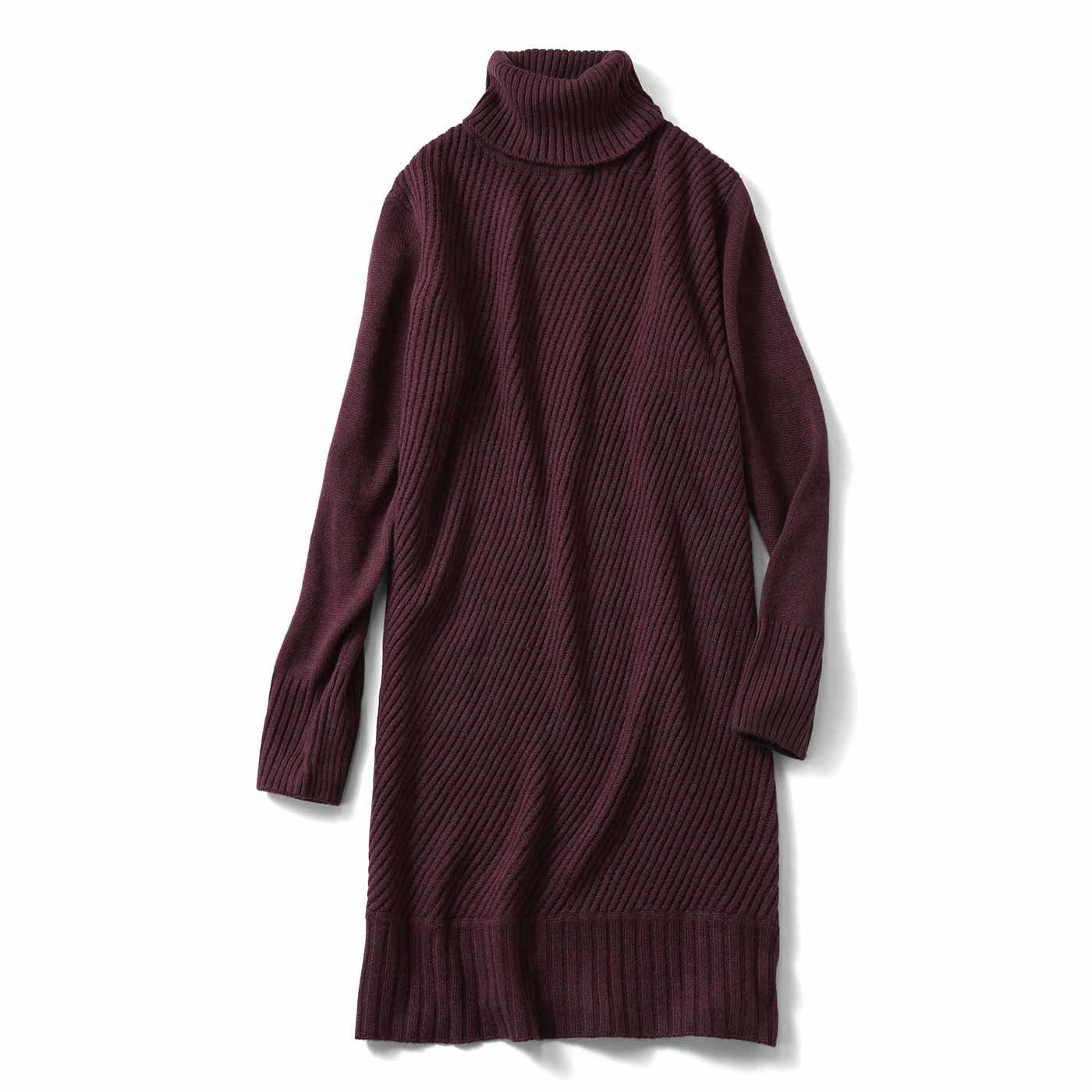 【3~10日でお届け】IEDIT[イディット] 斜めの編み地で着やせ ニットチュニックワンピース〈ブラウン〉