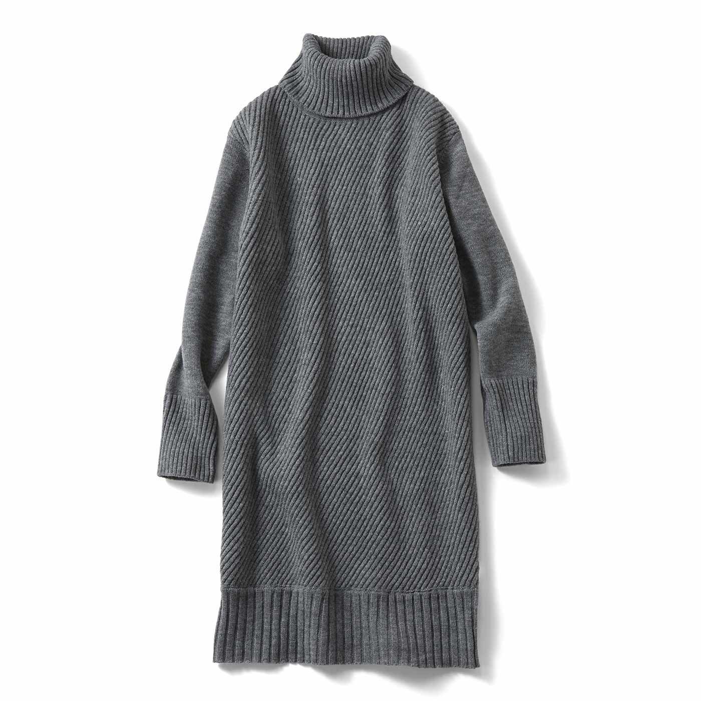 【3~10日でお届け】IEDIT[イディット] 斜めの編み地で着やせ ニットチュニックワンピース〈杢(もく)グレー〉